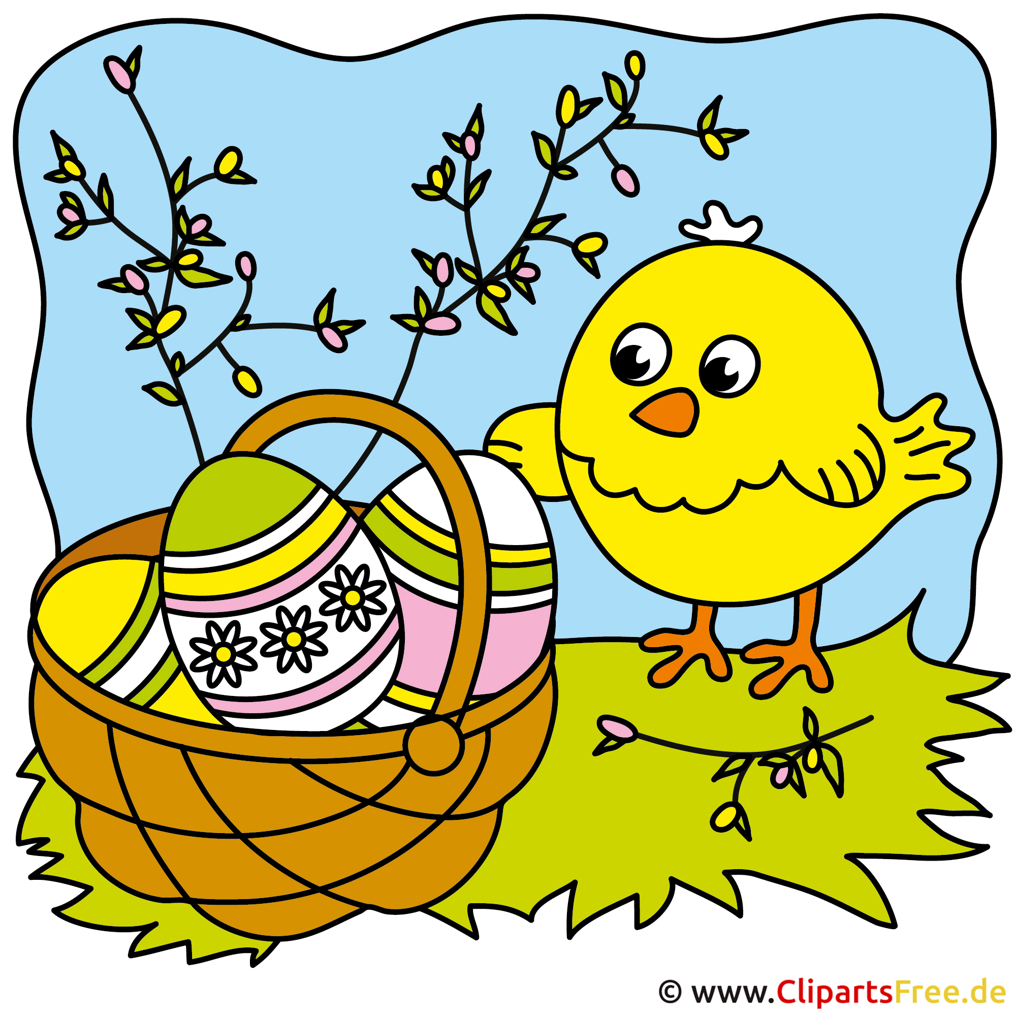 Osterkorb mit Ostereier Clipart