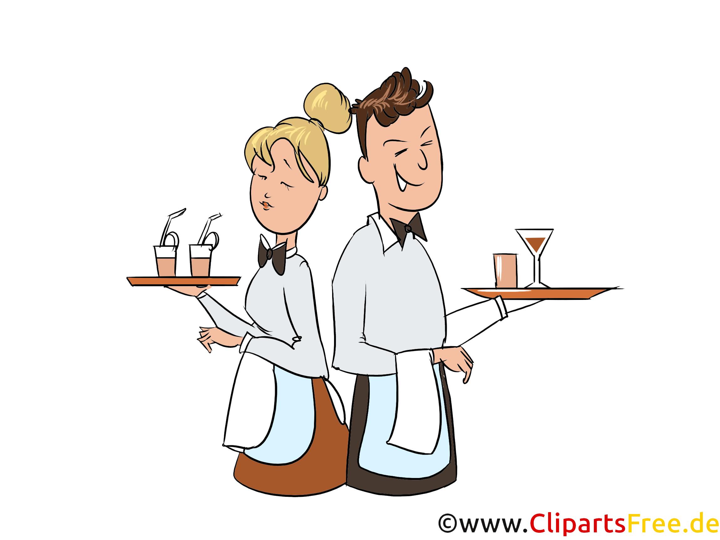 Gastronomie Clipart - Kellner und Kellnerin Illustration