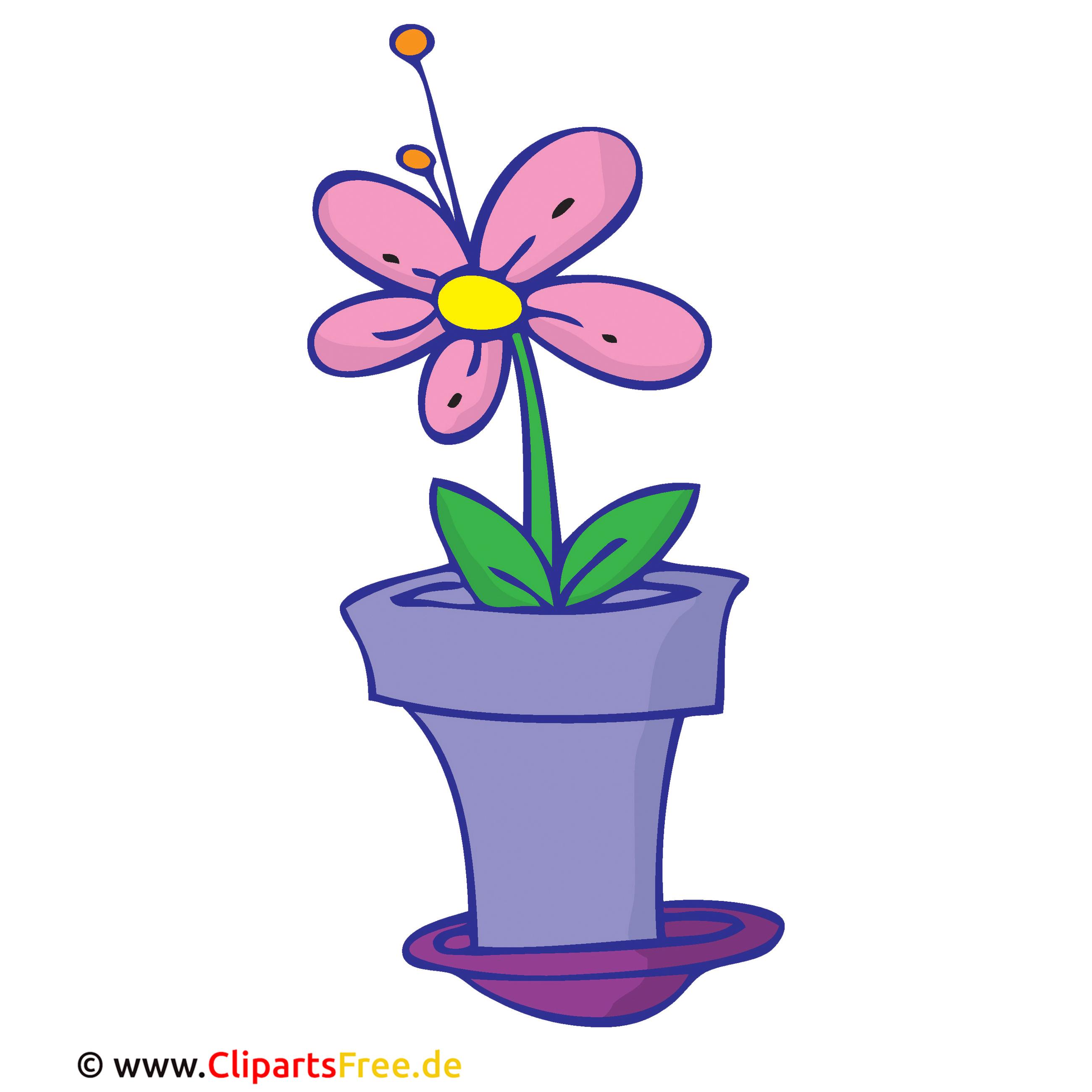 Blume im Topf Clipart, Bild, Cartoon, Grafik, Illustration