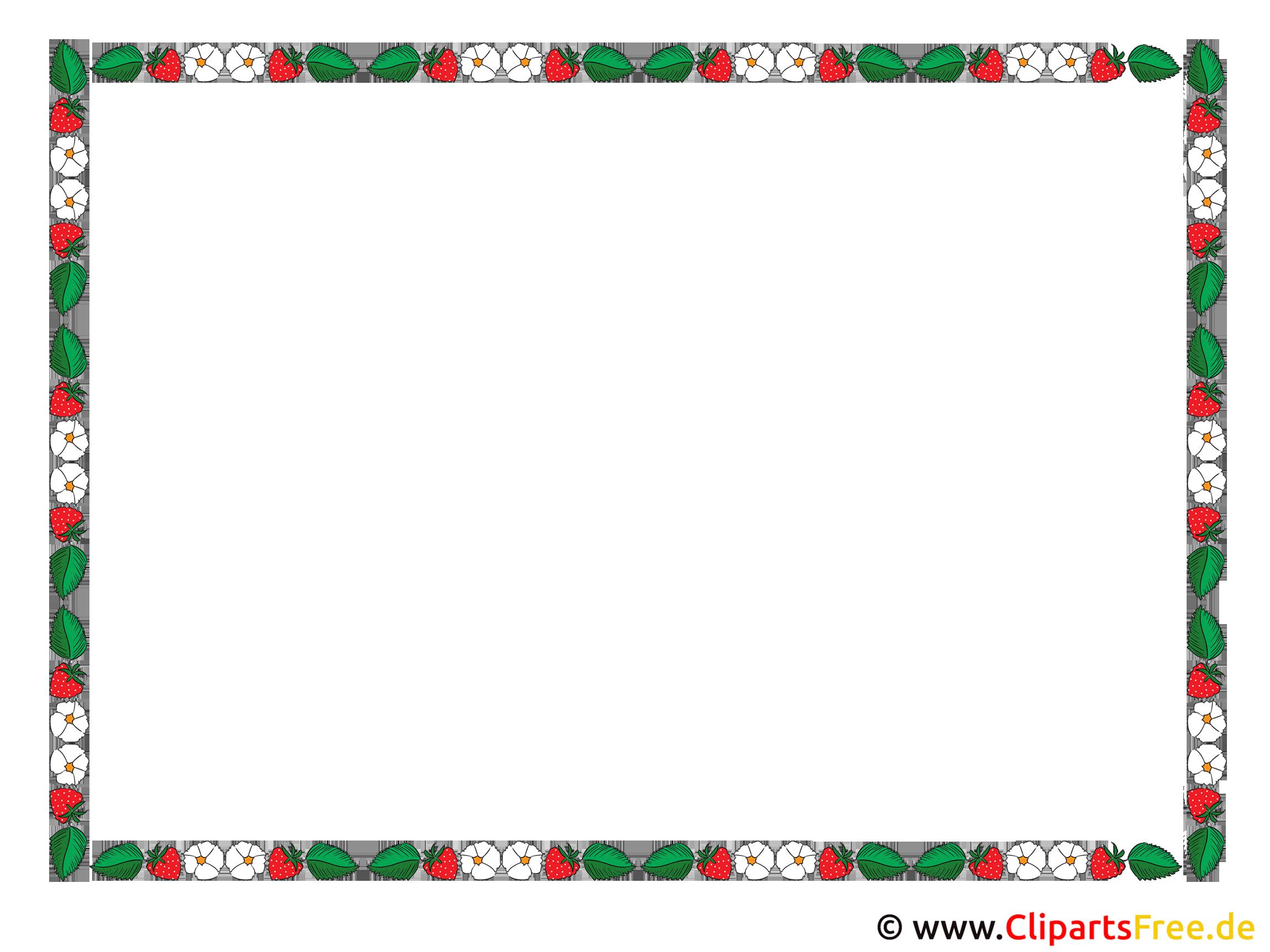 Rahmen Clipart mit Erdbeeren, Blumen, Blätter,