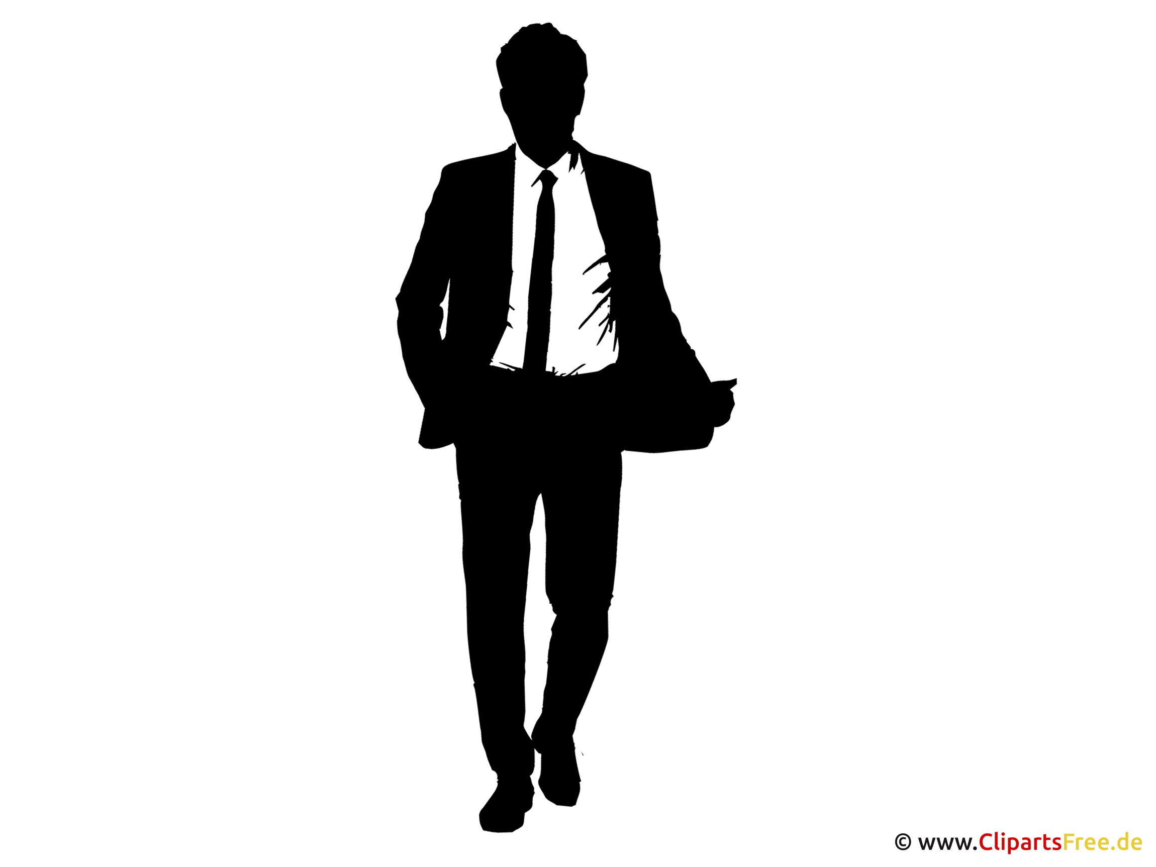 Mann im Anzug Silhouette Clipart