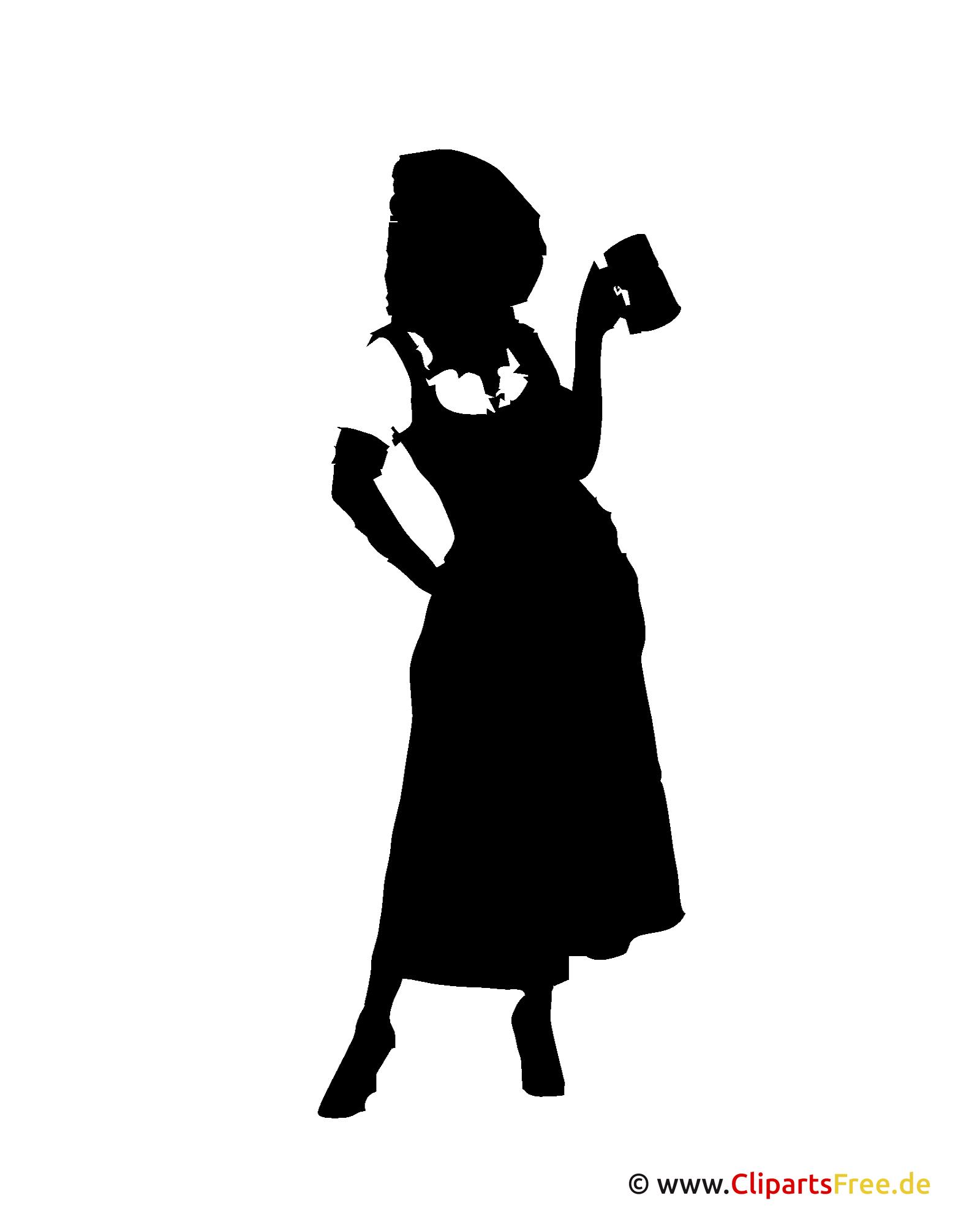 Silhouette Bavarian Woman on Oktoberfest Clipart