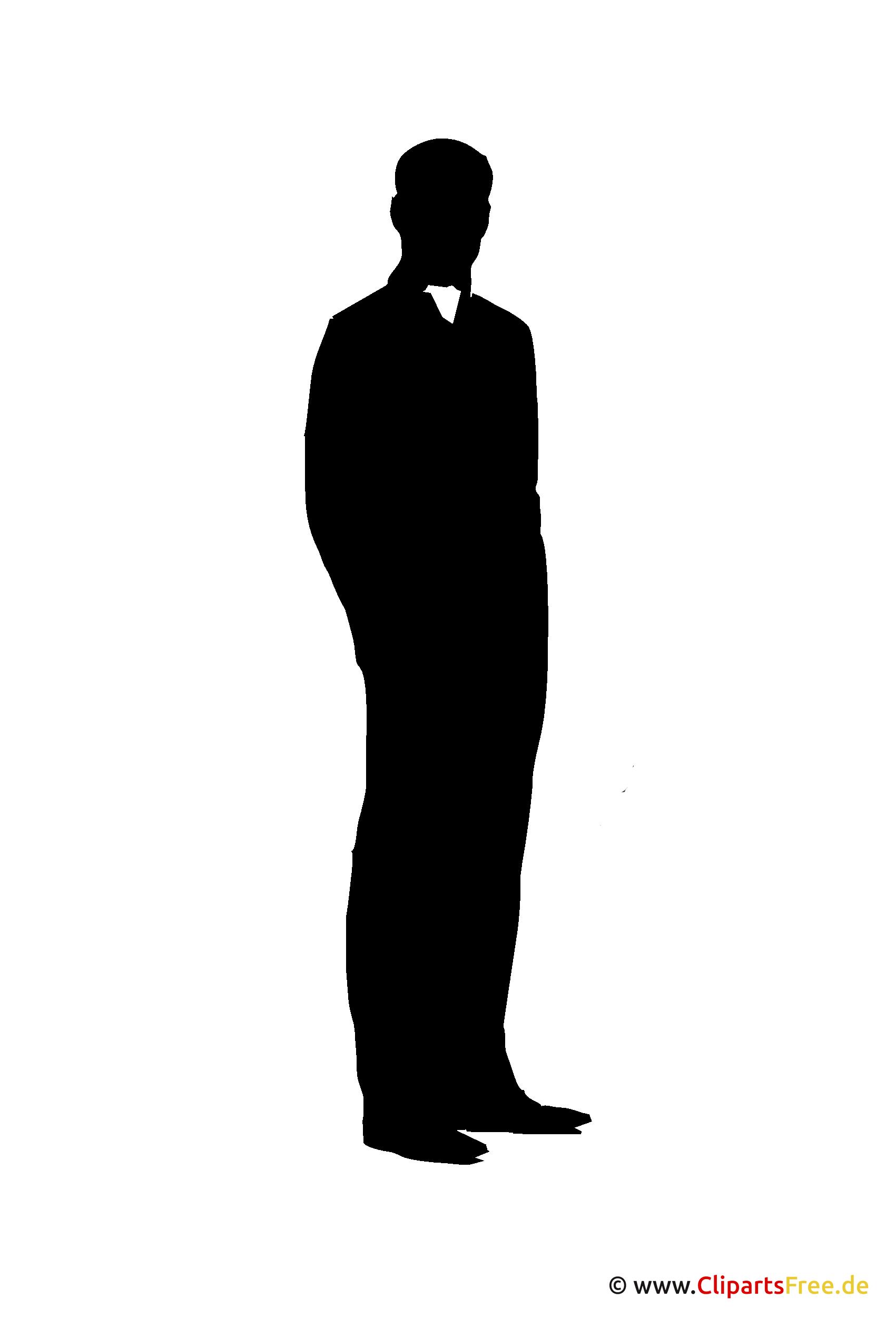 Silhouette Mann im Anzug stehend