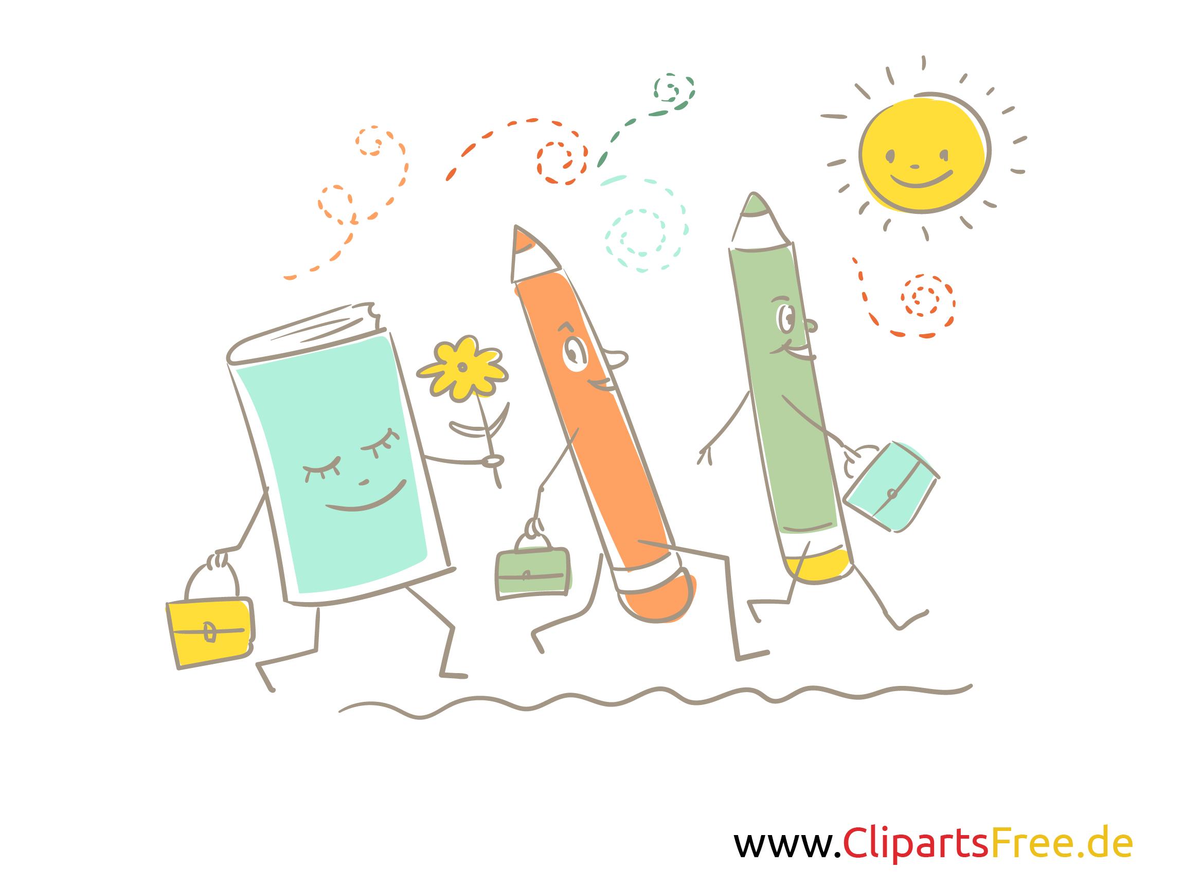 Buch und Stifte - witzige Illustrationen für Schule und KiGa