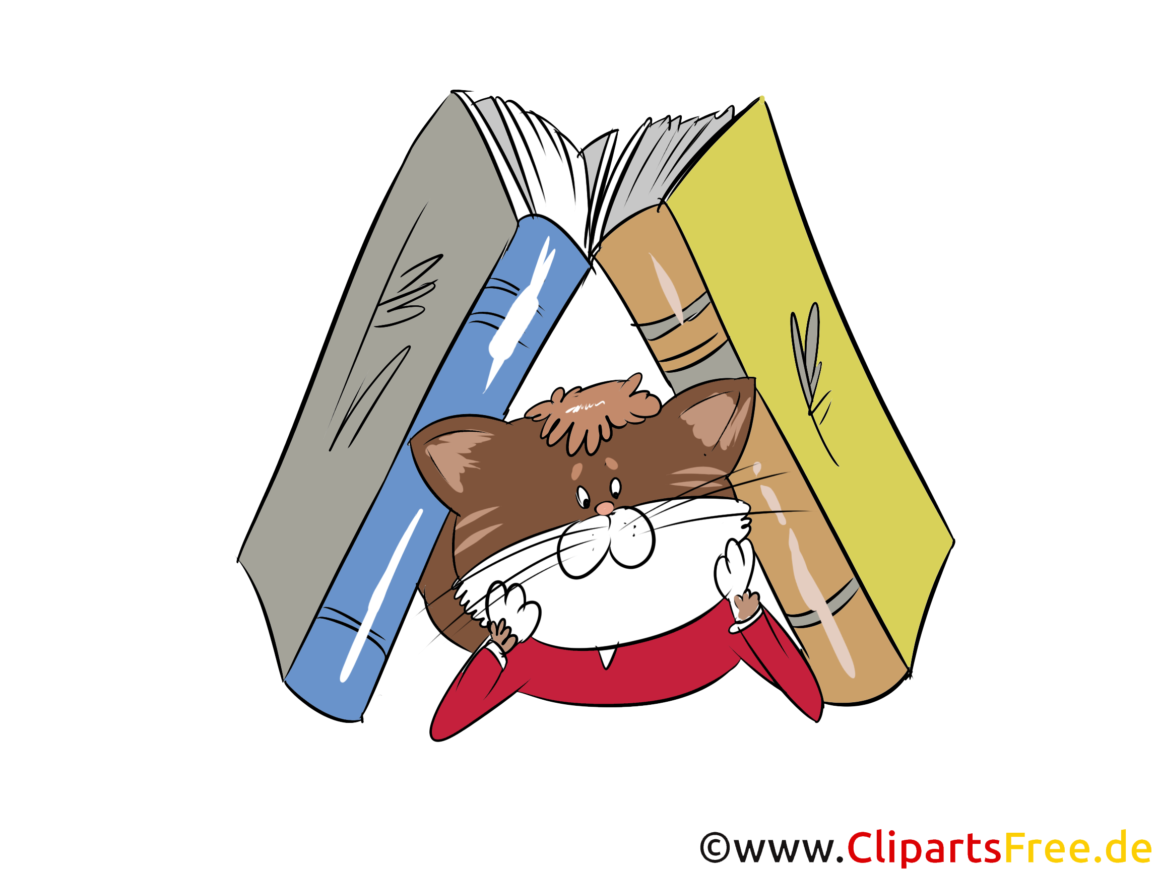 B cher kater katze bibliothek clipart bild grafik for Schule grafik
