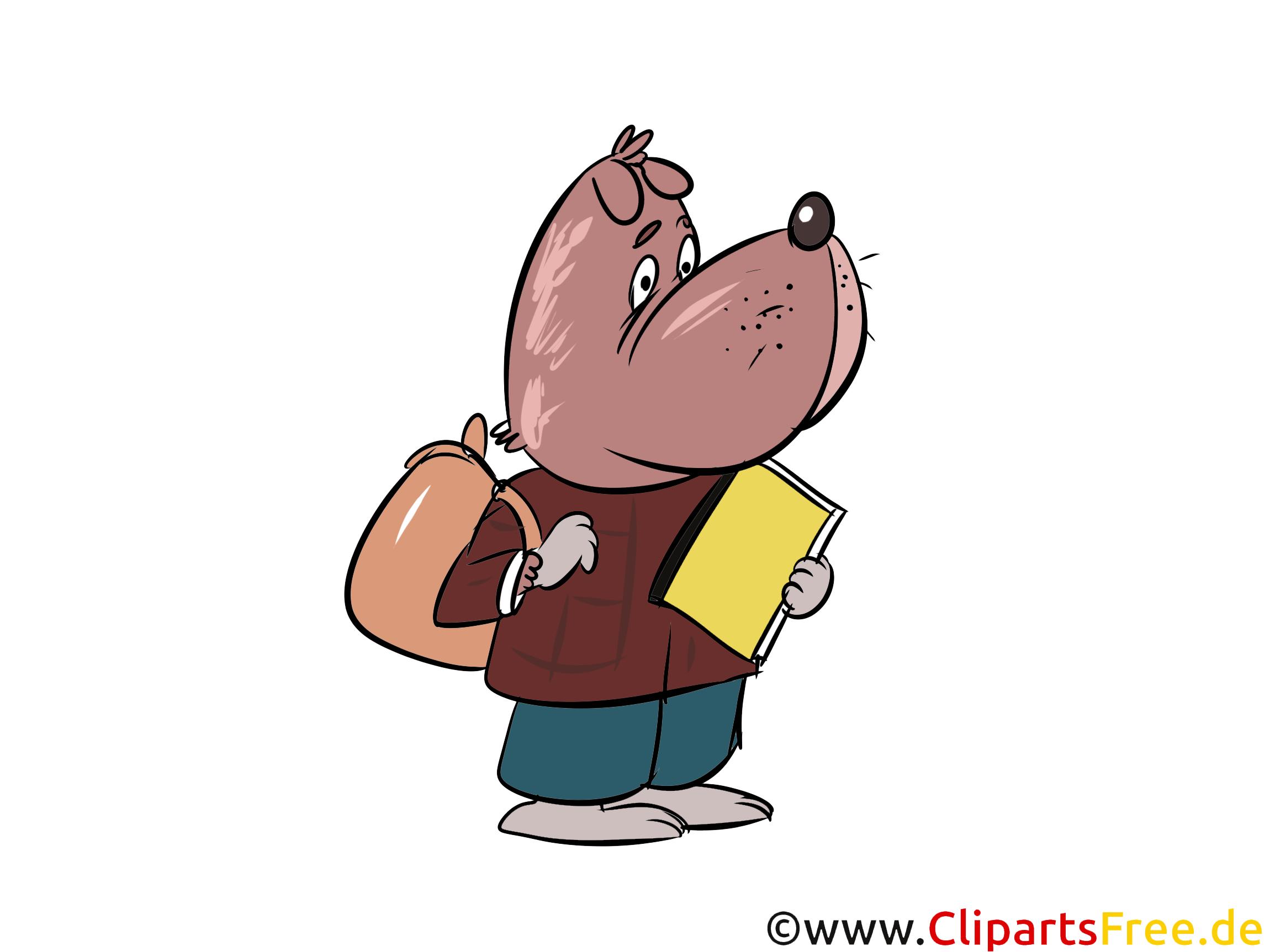 Comic Hund geht in die Schule Clip Art