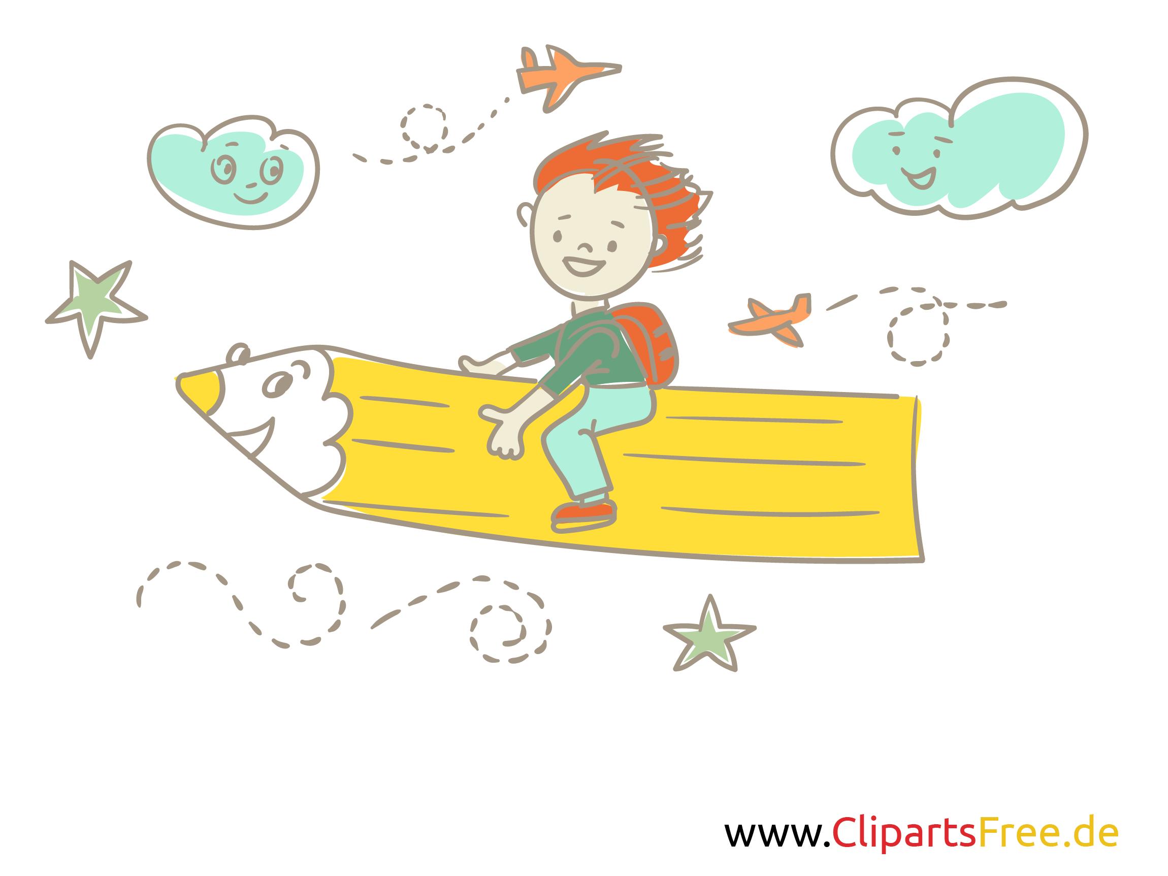 Freie Bilder für Schule und Kindergarten - Schüler fliegt auf dem gelben Buntstift