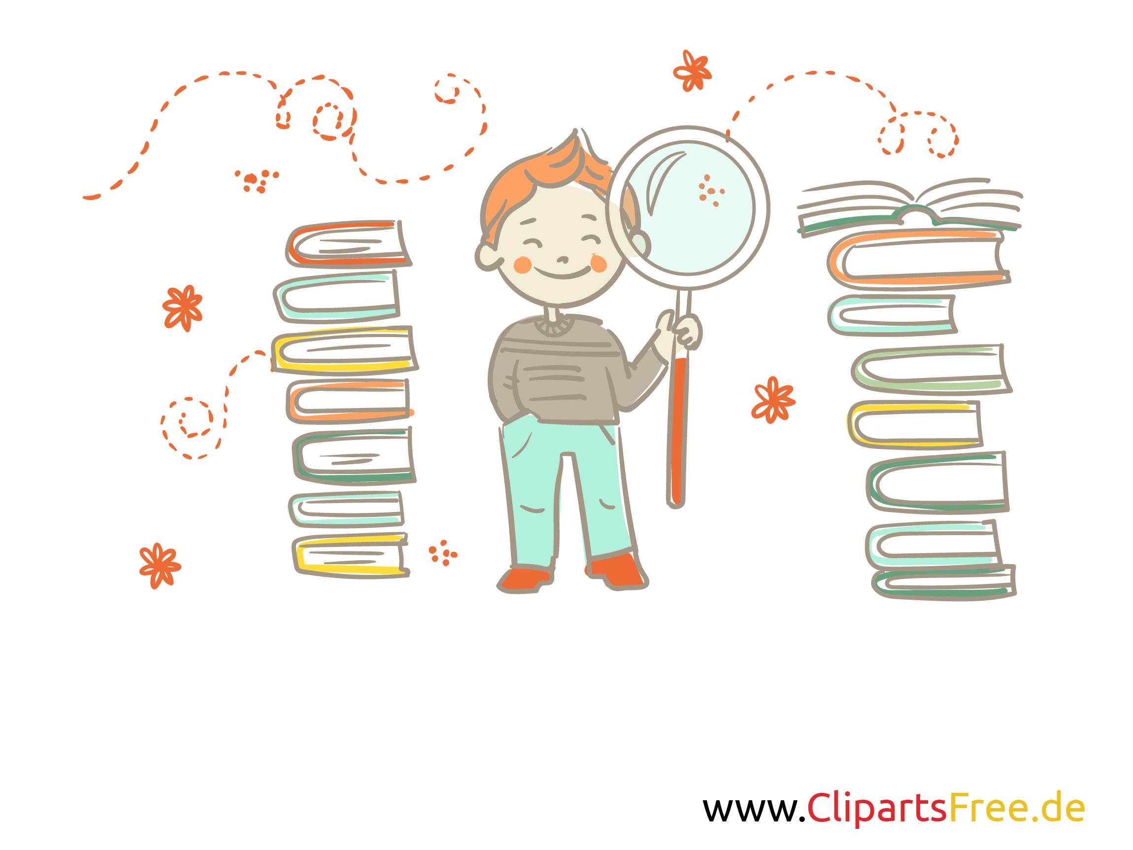 Junge mit Lupe und Bücher Clipart, Grafik, Illustration