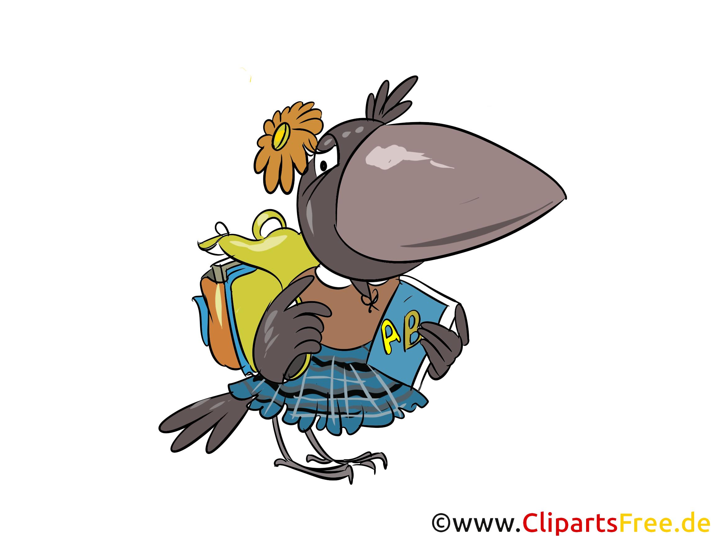 Krähe, Schülerin, Schulranzen, Schule Clipart-Bild