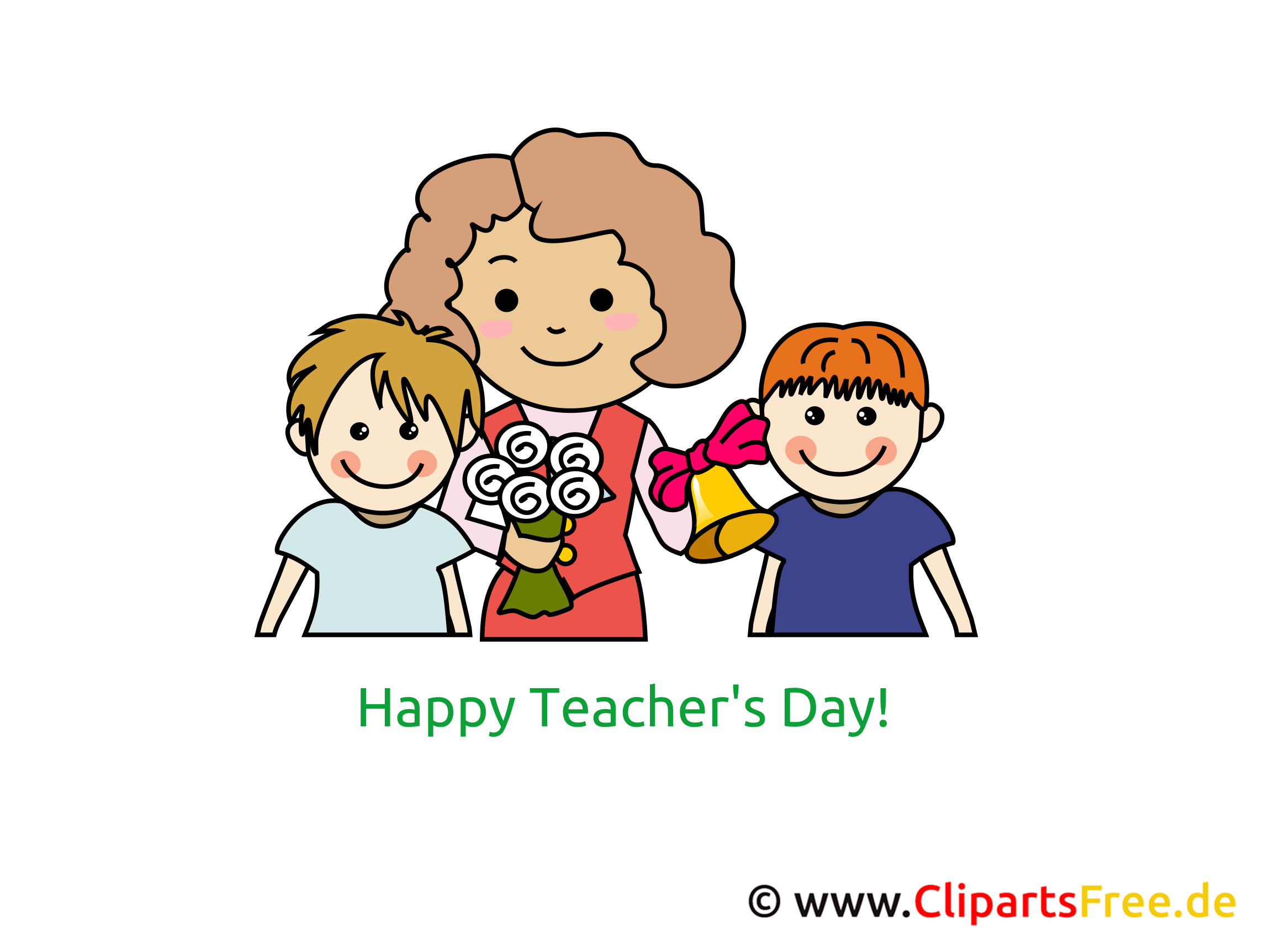 Lehrerin und Schüler Clipart, Bild, Glückwünsche