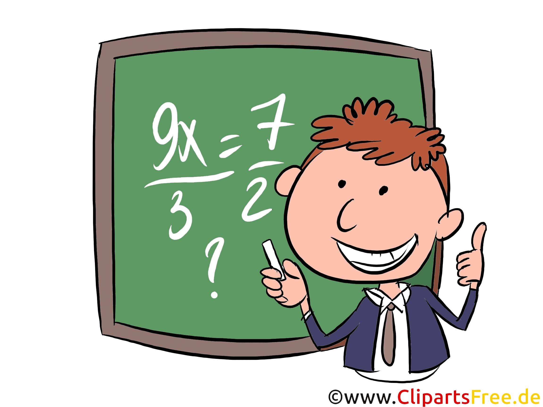 Mathematk in der Schule Clipart, Bild, Illustration