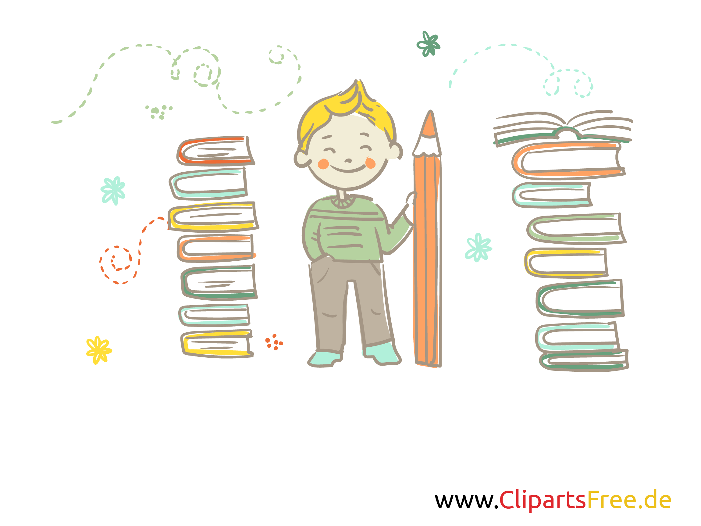 Schreiben lernen Clipart, Illustration, Cartoon, Comic