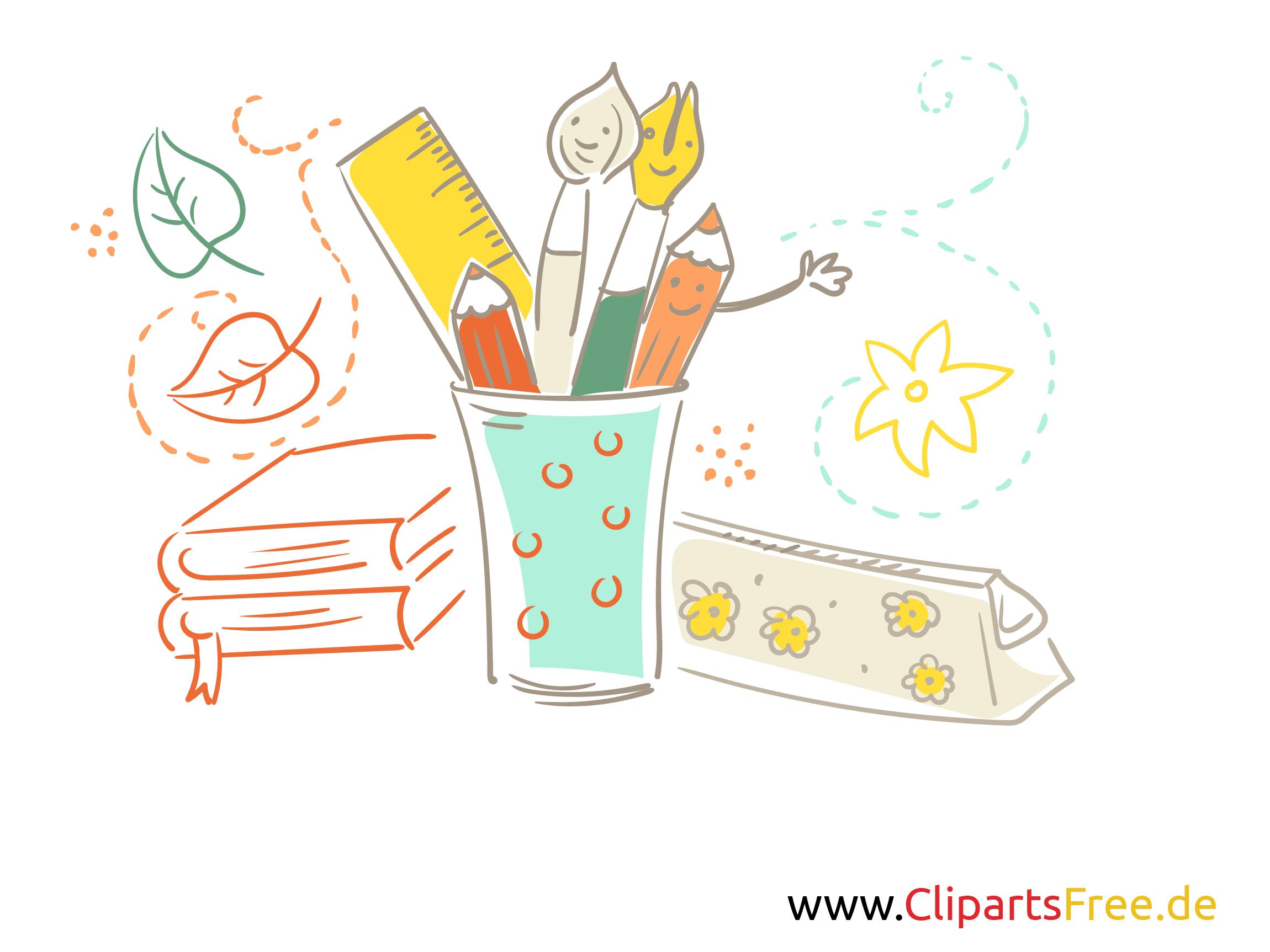 Schreibwaren Clipart und Illustrationen für Schule
