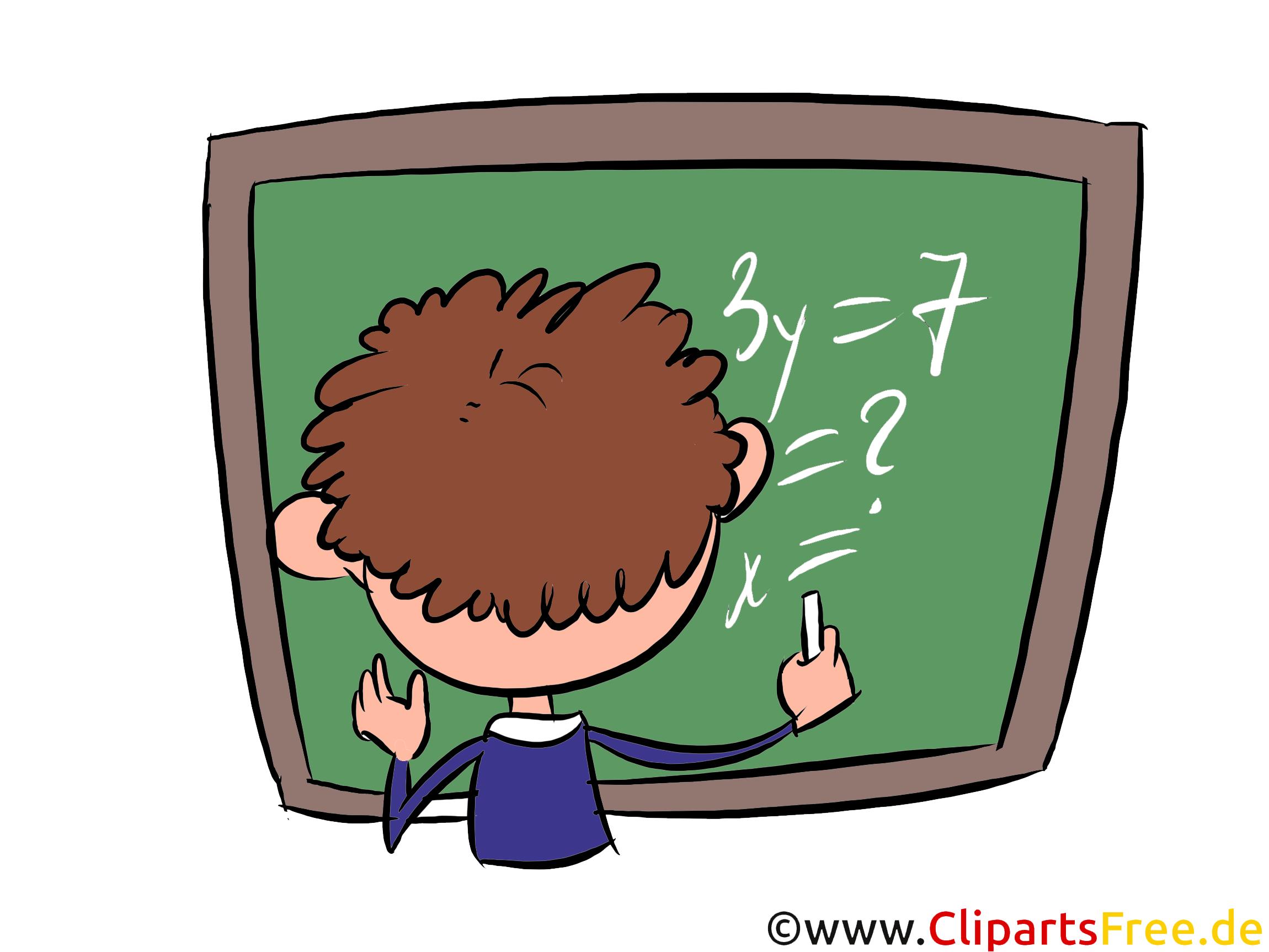 Schüler an der grünen Tafel Clipart, Bild, Illustration