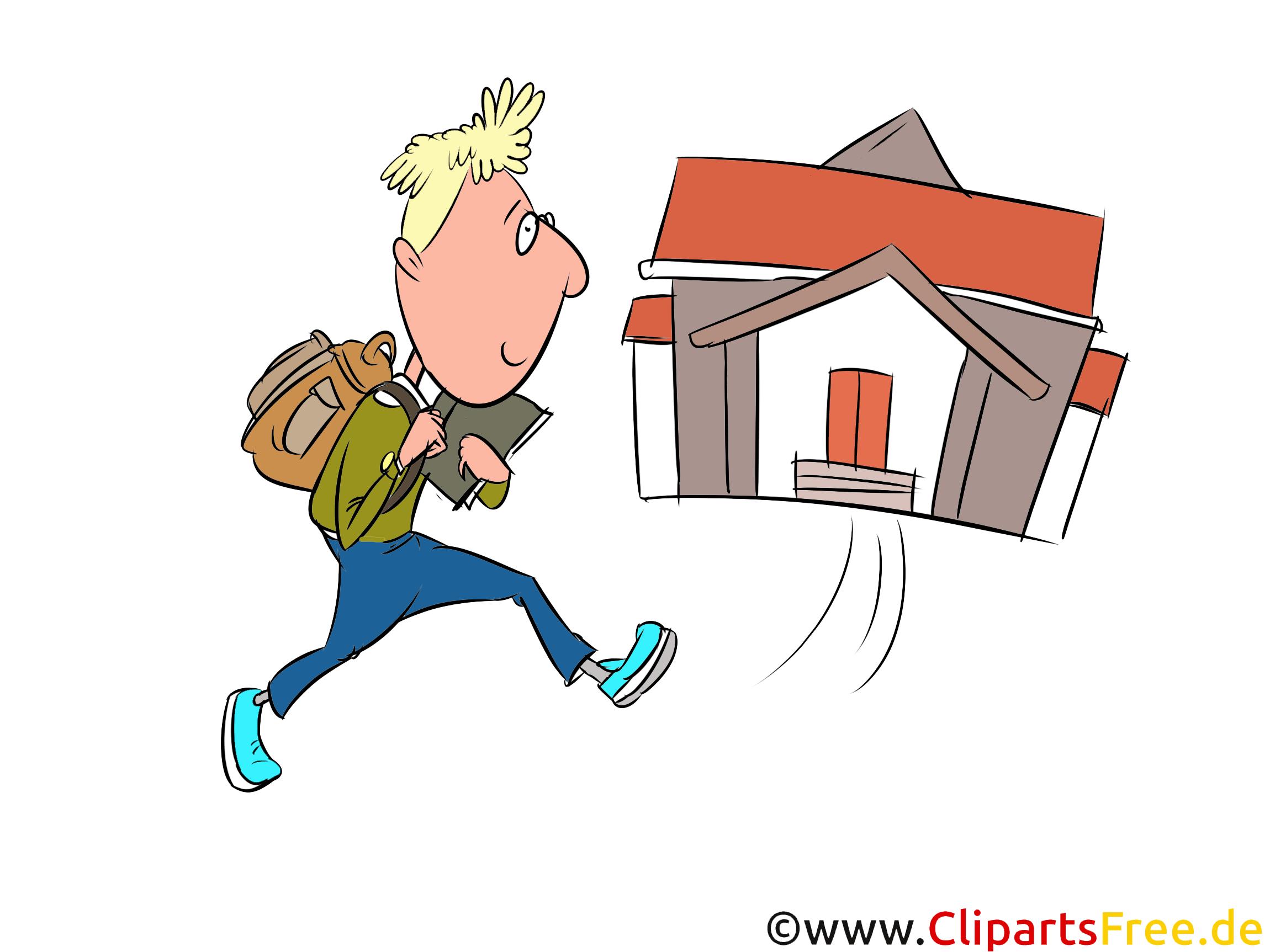 Schüler grennt in die Schule Bild, Illustration, Clipart, Grafik