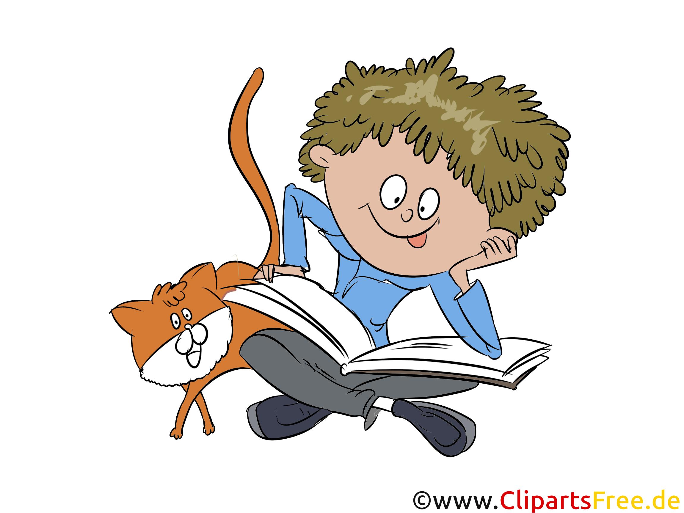 Schüler, Junge liest ein Buch Illustration, Bild, Grafik