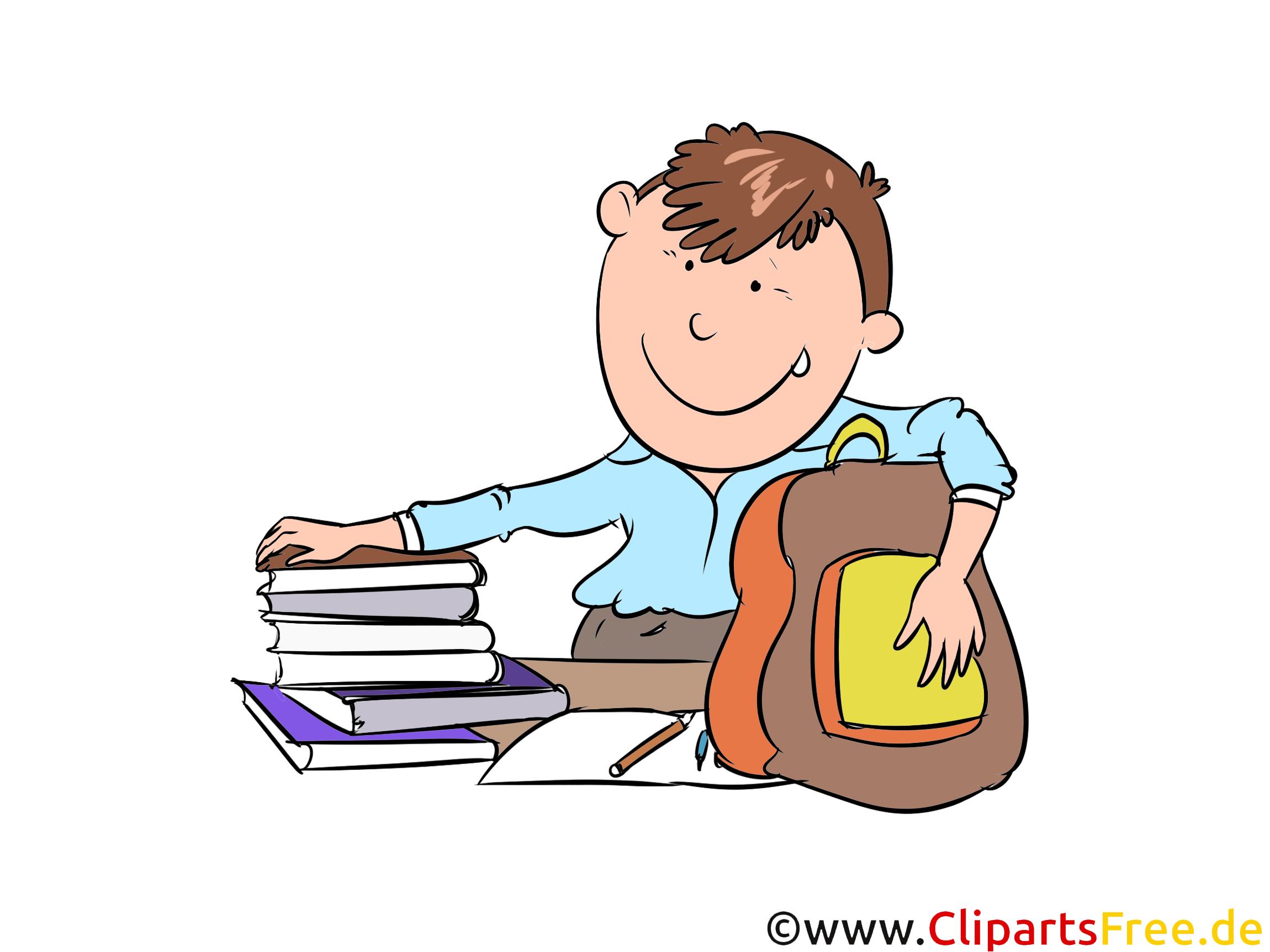 Schüler und Bücher, Rucksack Clipart, Illustration, Bild