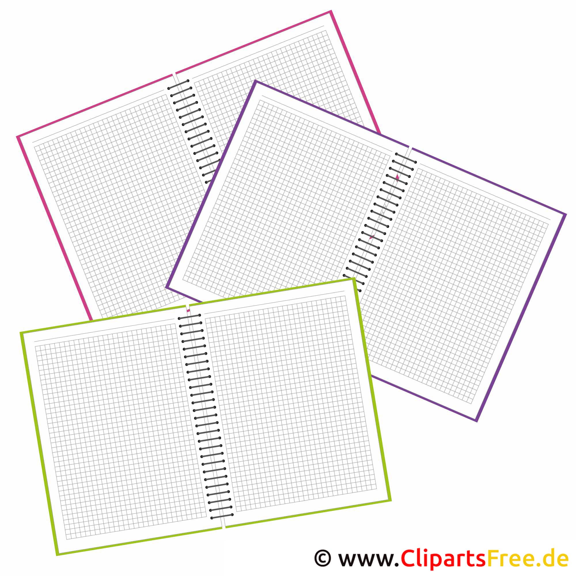 Schule Cliparts - Hefte für Unterricht