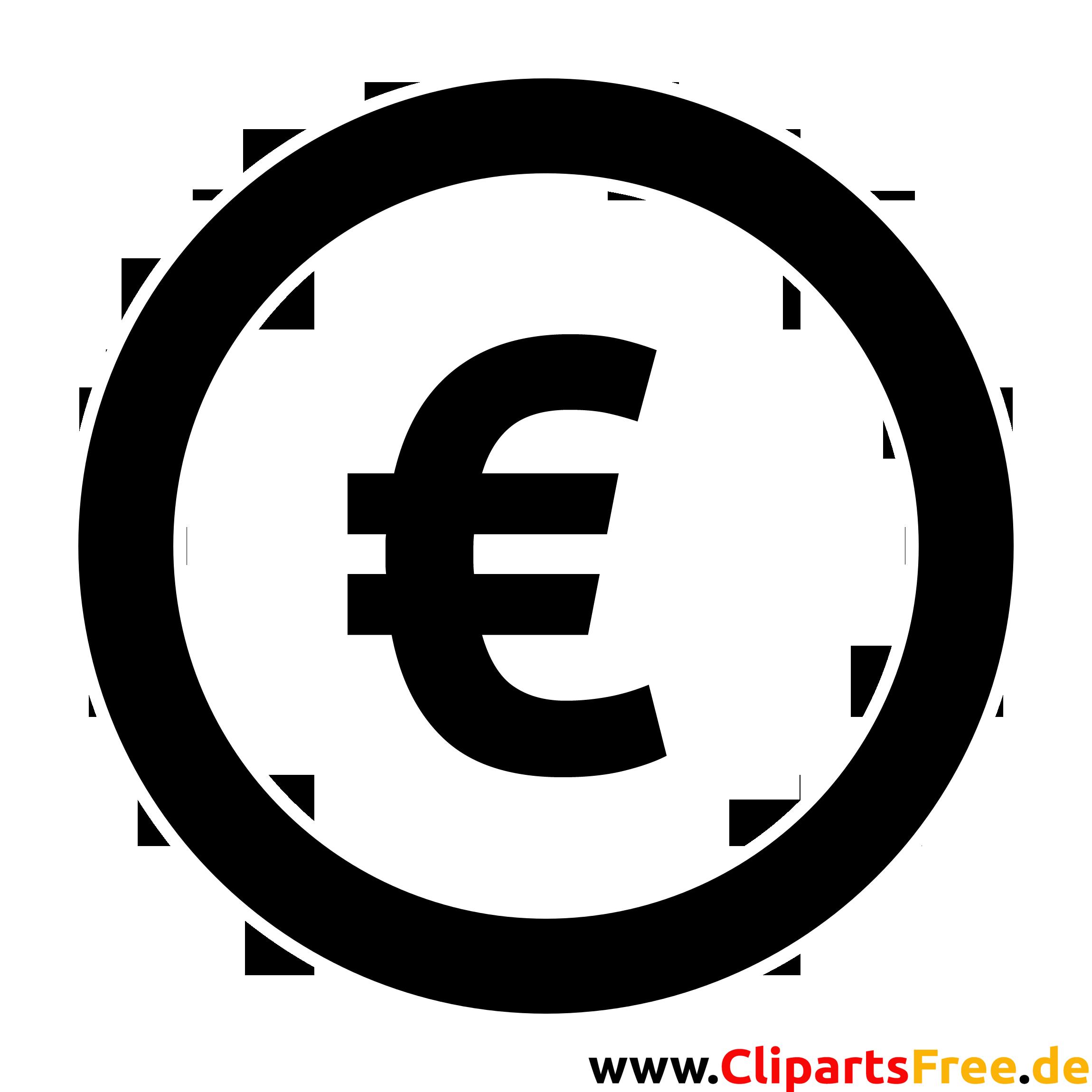Eurozeichen Clipart, Bild, Grafik, Illustration schwarz-weiss