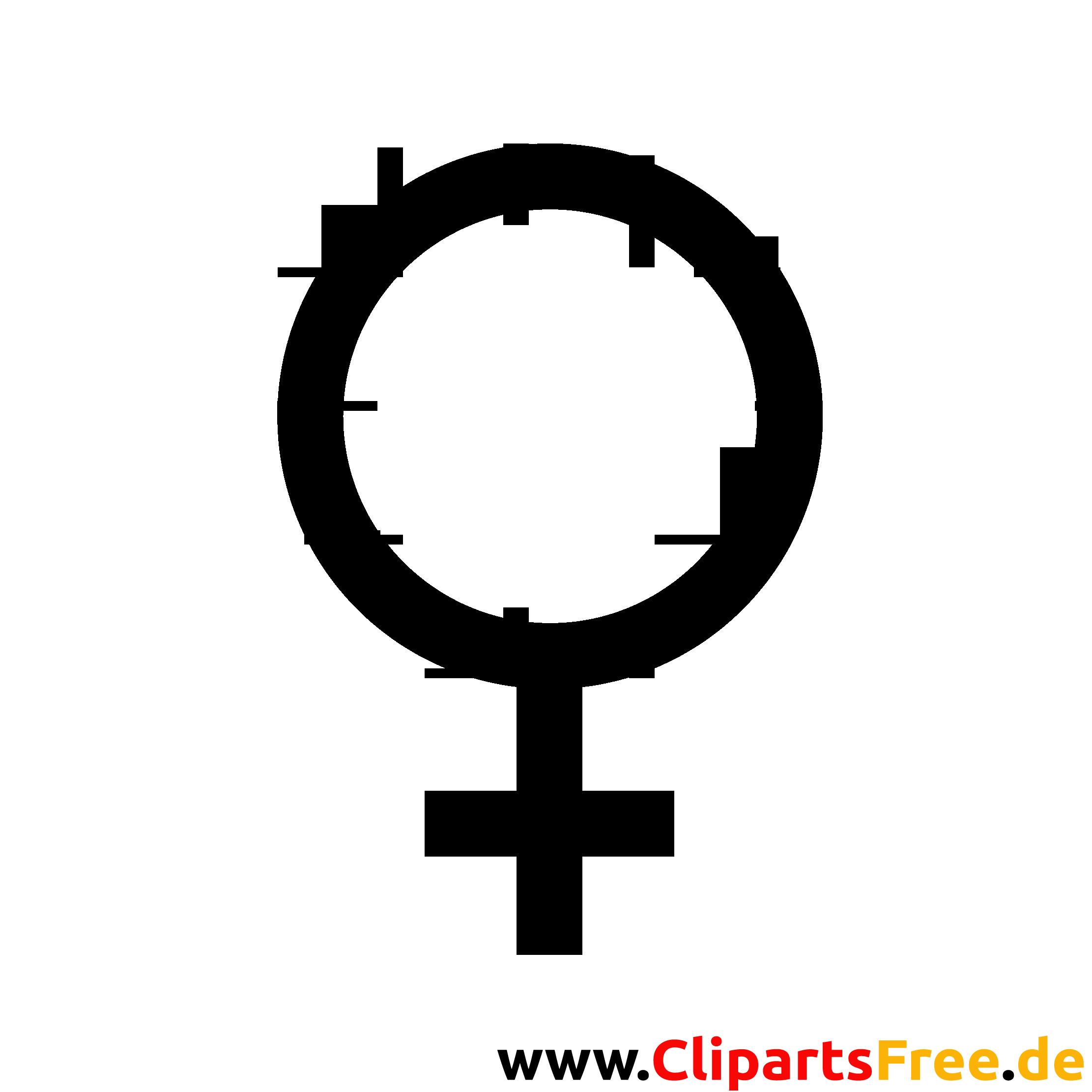 Venussymbol Clipart, Bild, Grafik schwarz-weiss gratis