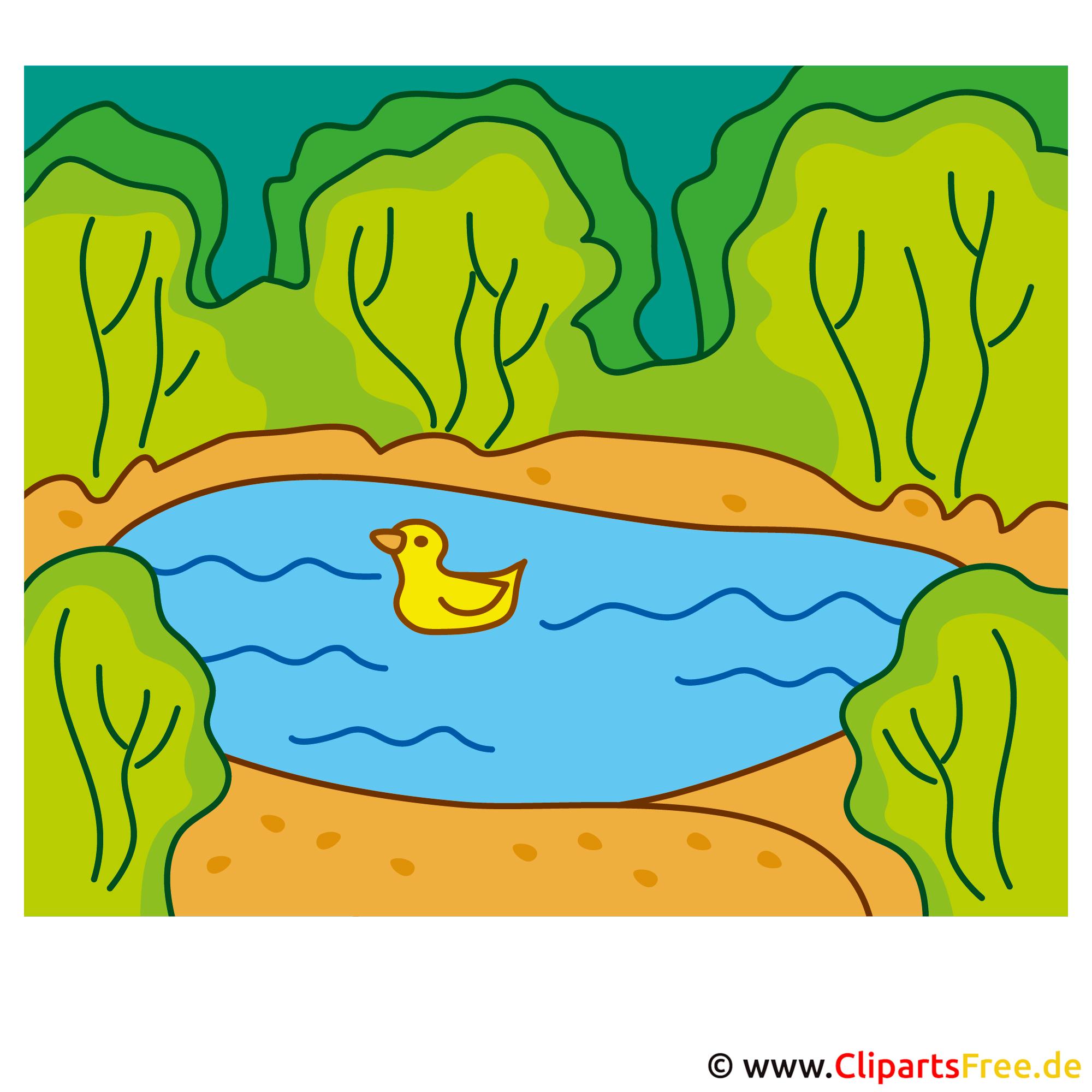 Ente im Teich Clipart  - Lizenzfreie und kostenlose Bilder zum Sommer