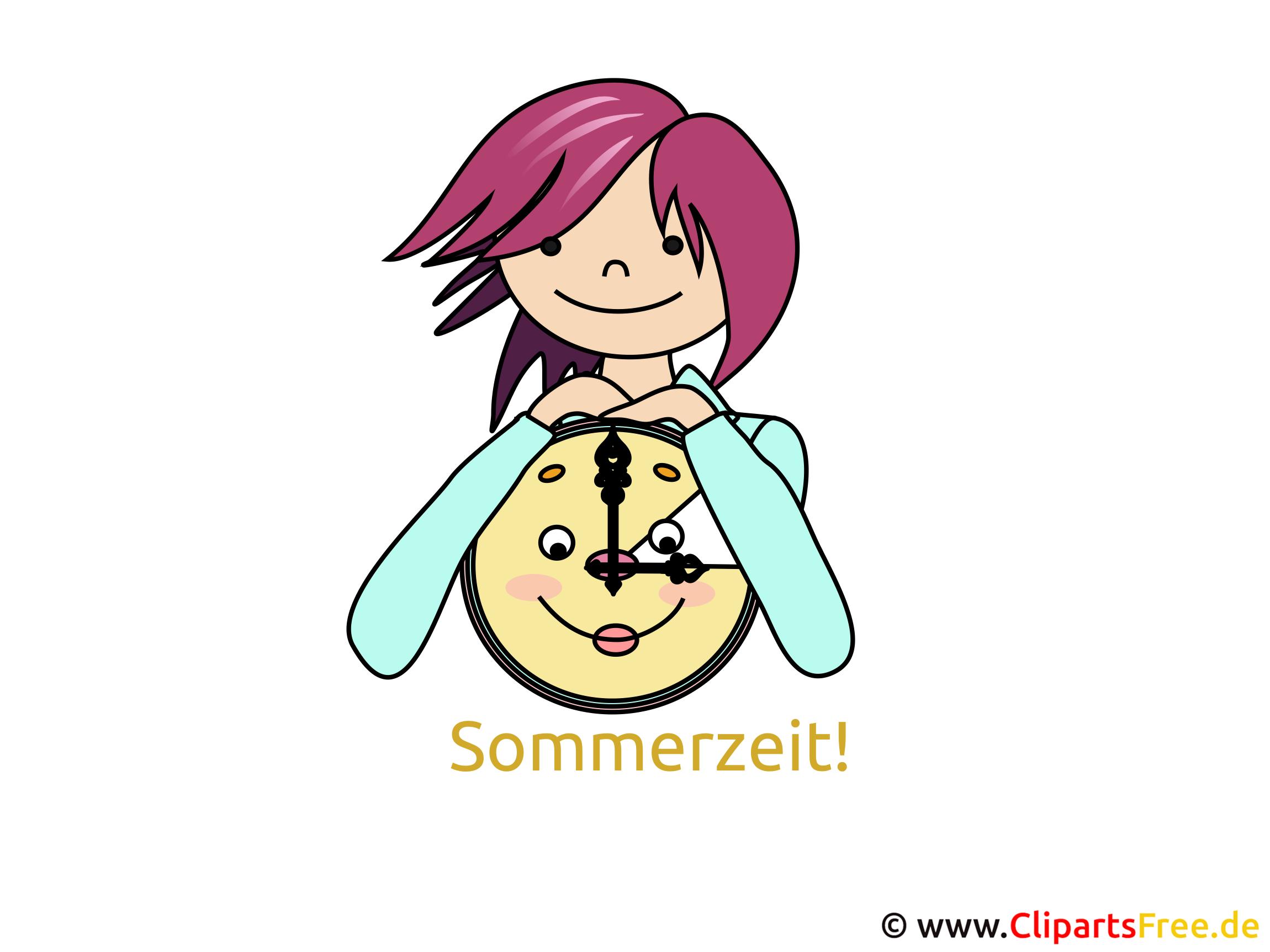 Uhr Sommerzeit - Bilder für Gästebuch, Clipart