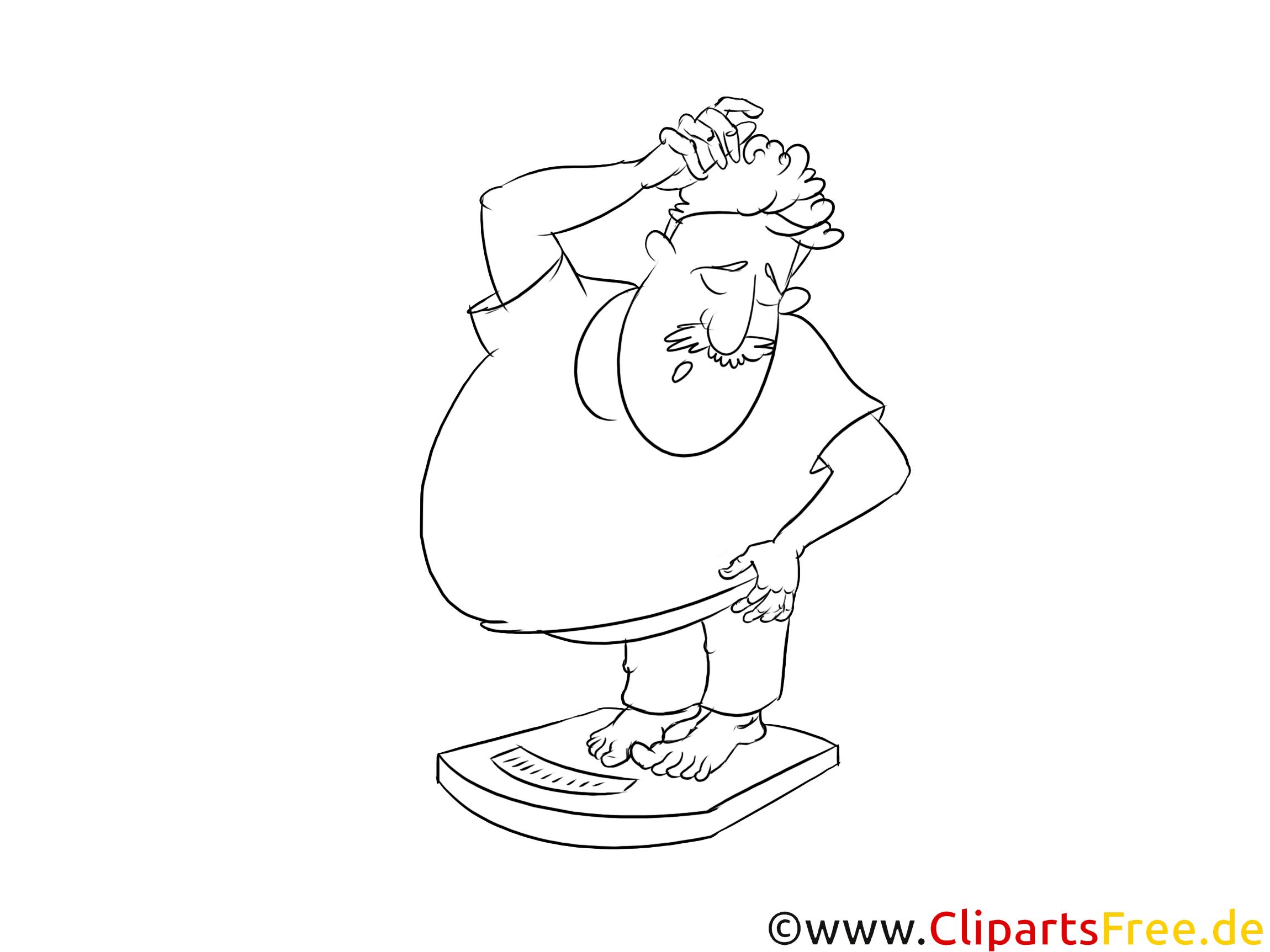 Übergewicht Clipart schwarz-weiss