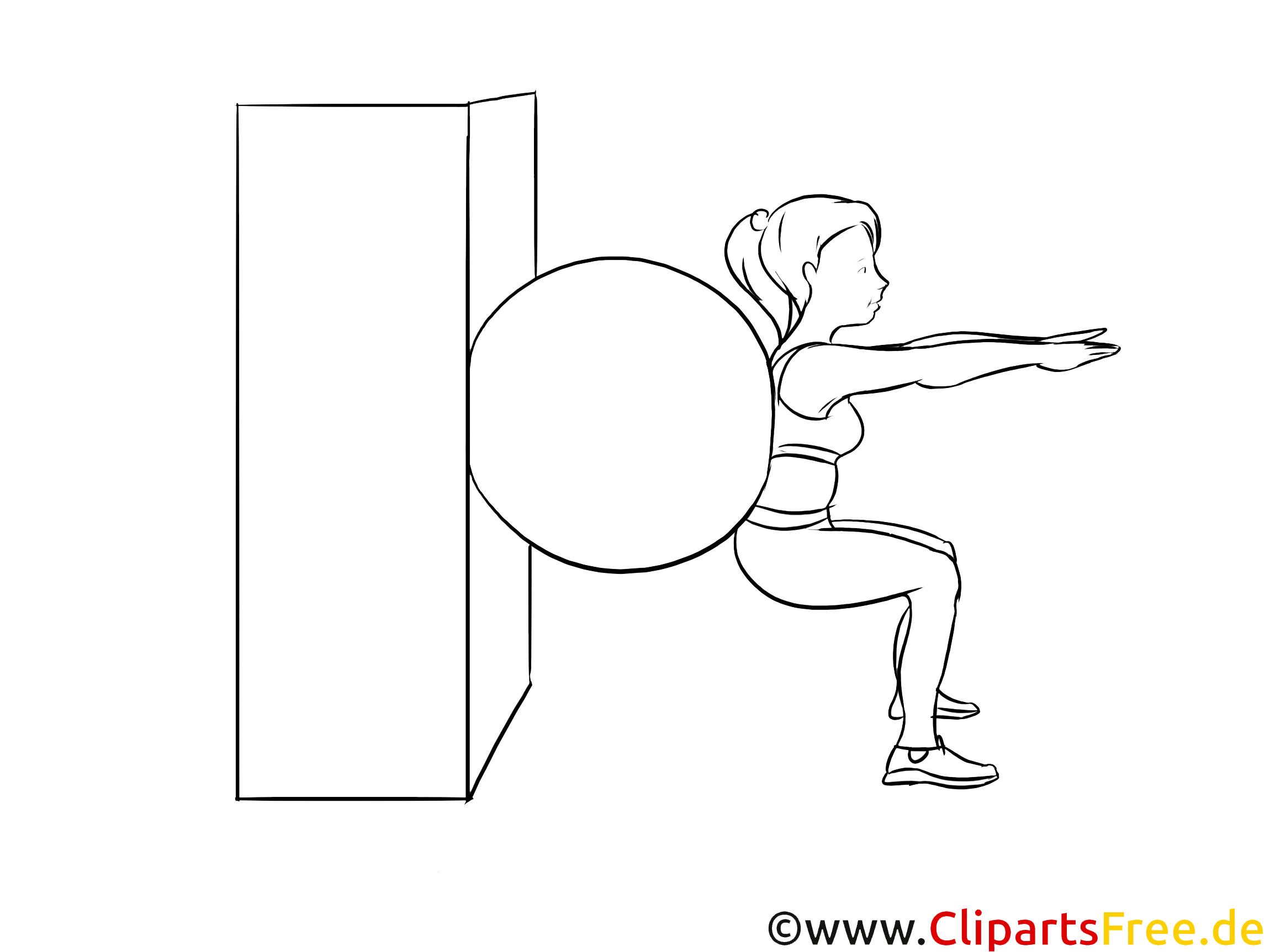 Fitness Frau PNG Illustration, Zeichnung, Bild schwarz-weiss