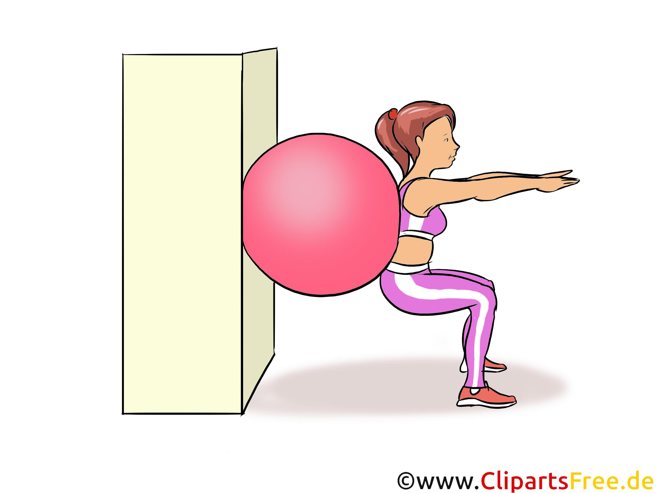 Junge Frau macht Sportübungen mit Ball Illustration, Zeichnung, Bild