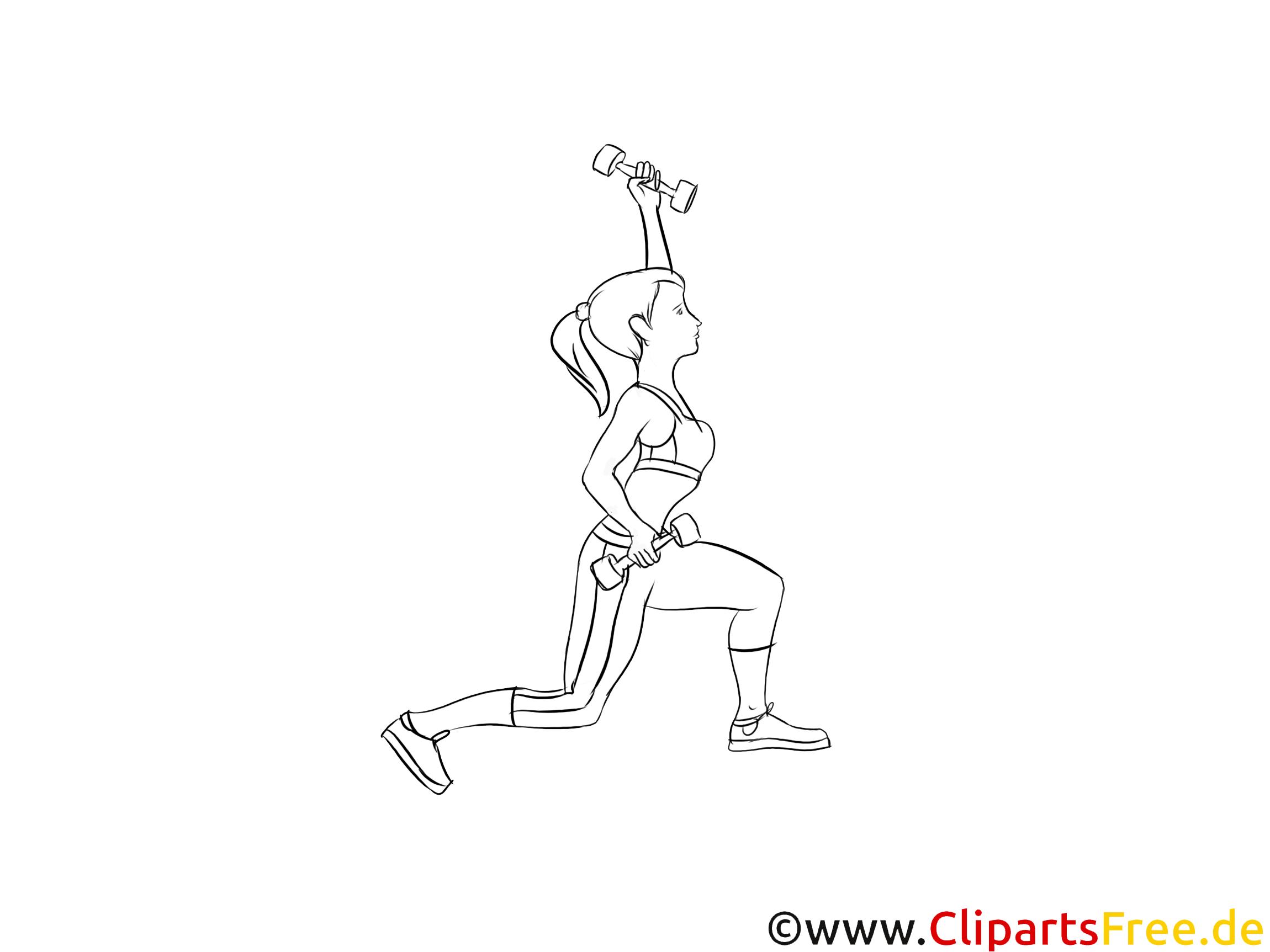 Körpertraining für Frauen Illustration, Zeichnung, Bild schwarz-weiss