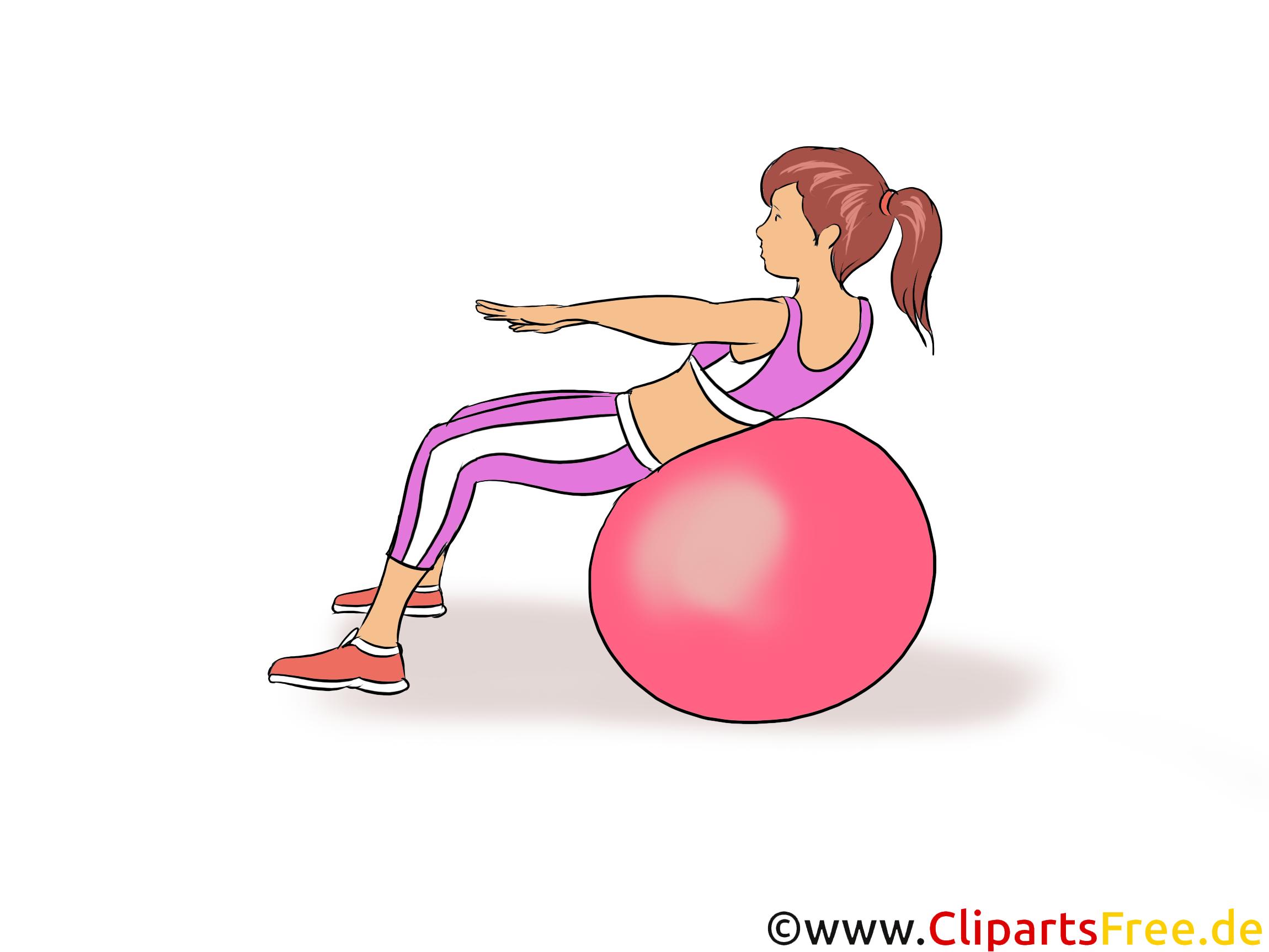 Übungen mit Ball zu Hause Illustration, Clipart, Bild
