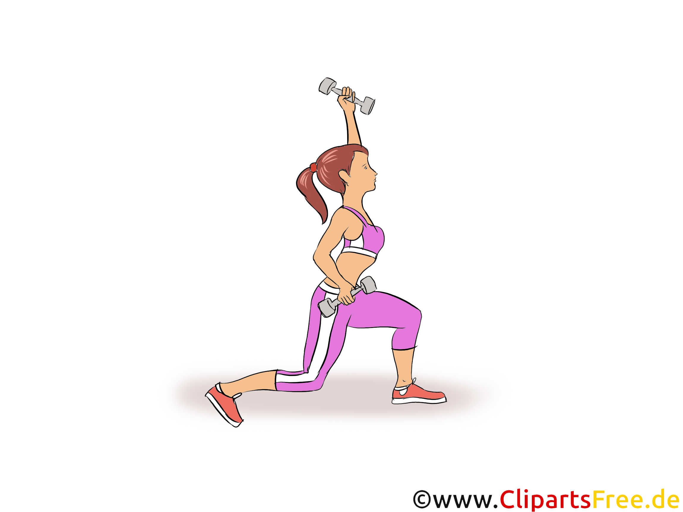 Workout Girl, Frau Clipart, Illustration, Bild