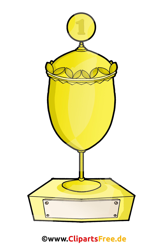 Pokal für den ertsen Platz in Gold Clipart, Illustration, Bild
