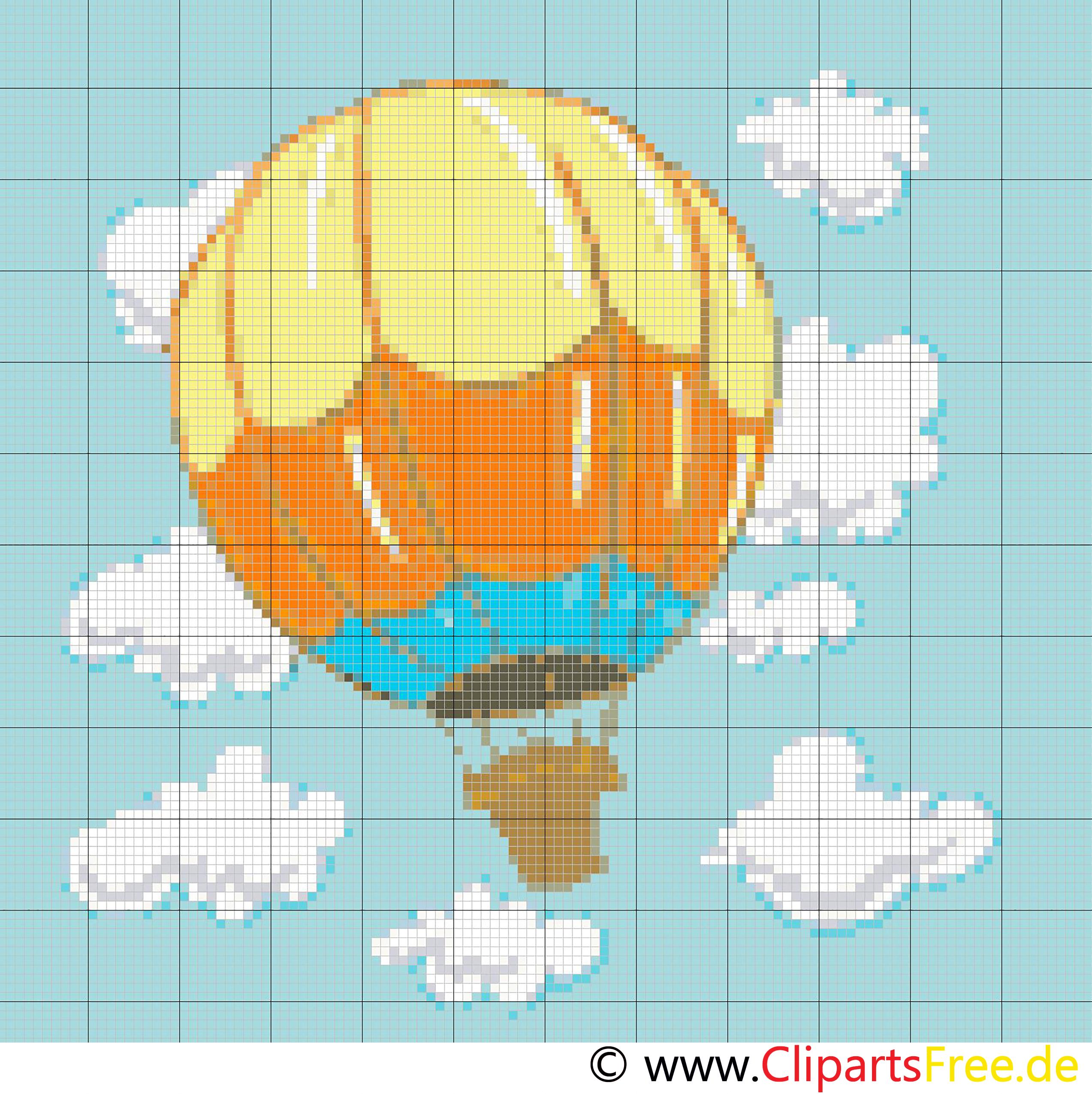 Kreuzsticken Heissluftballon