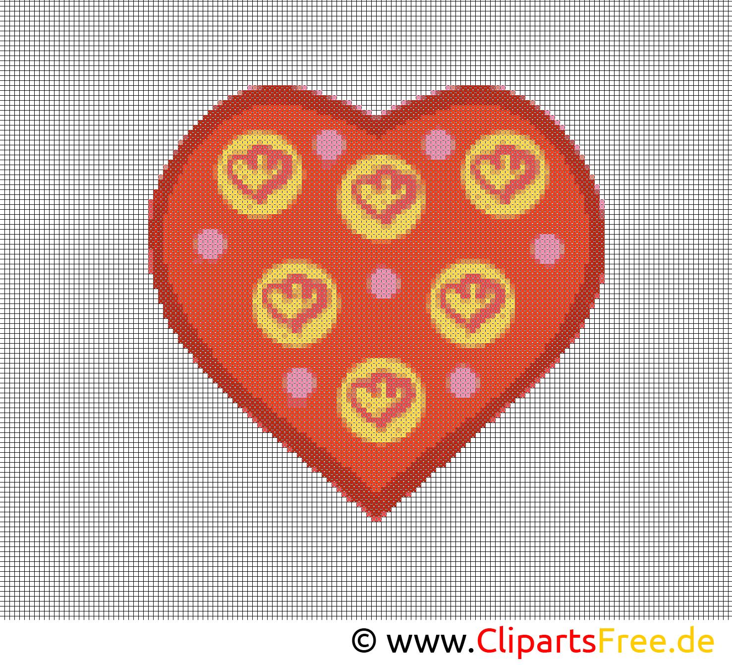 Stickbilder Vorlagen gratis Herz