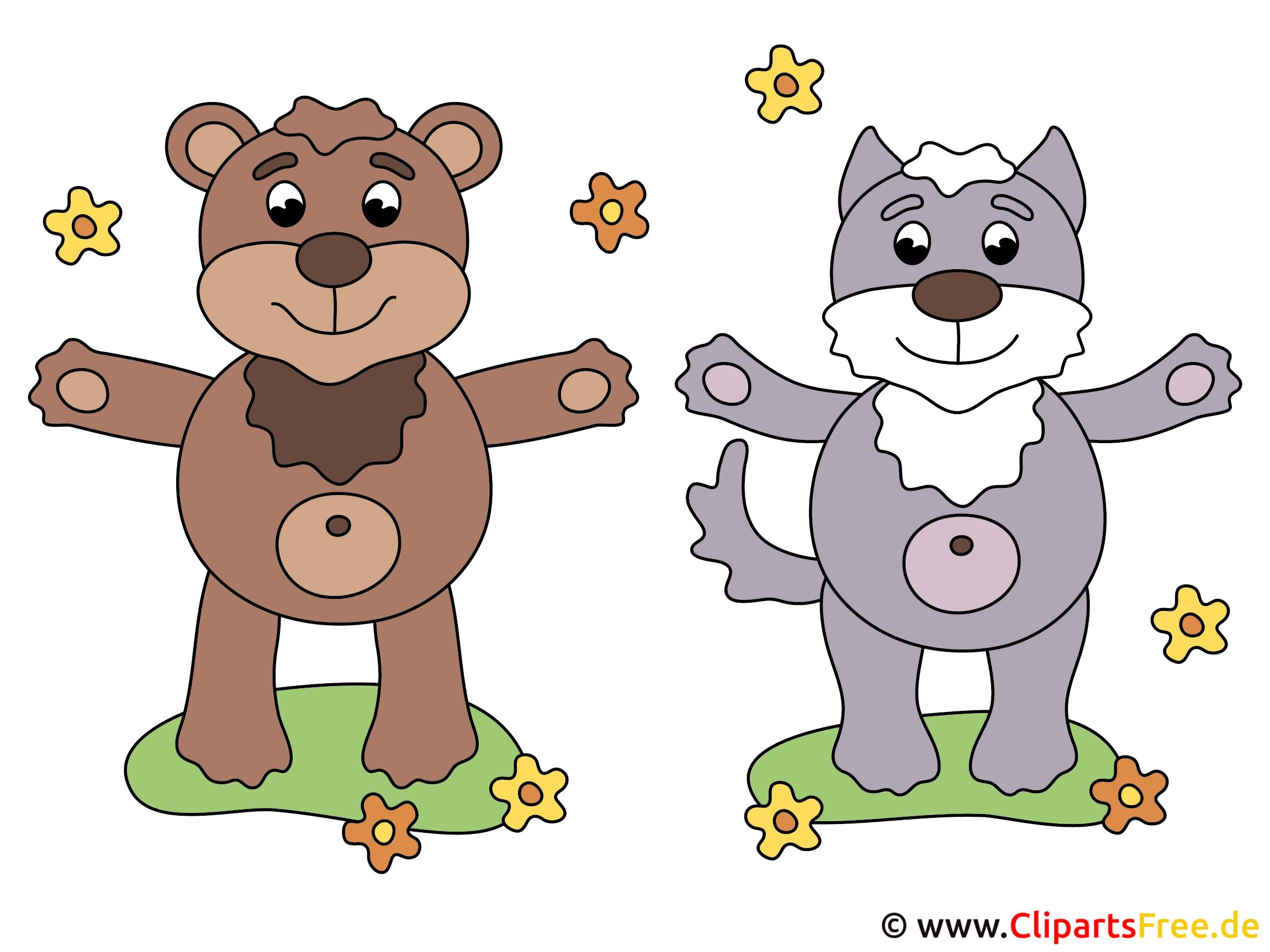 Cartoon Tiere - Bärchen und Kätzchen