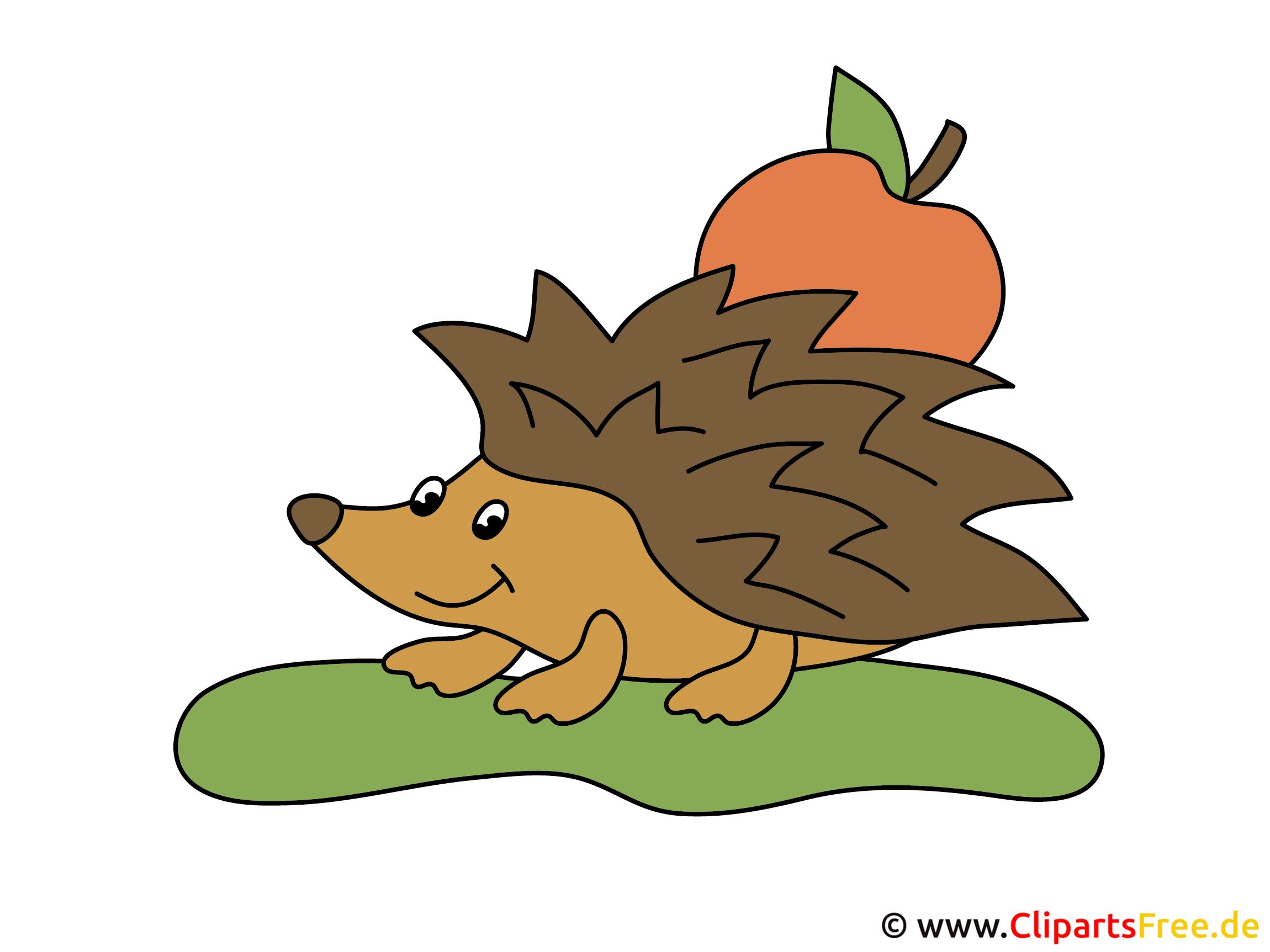 Igel mit Apfel Comic
