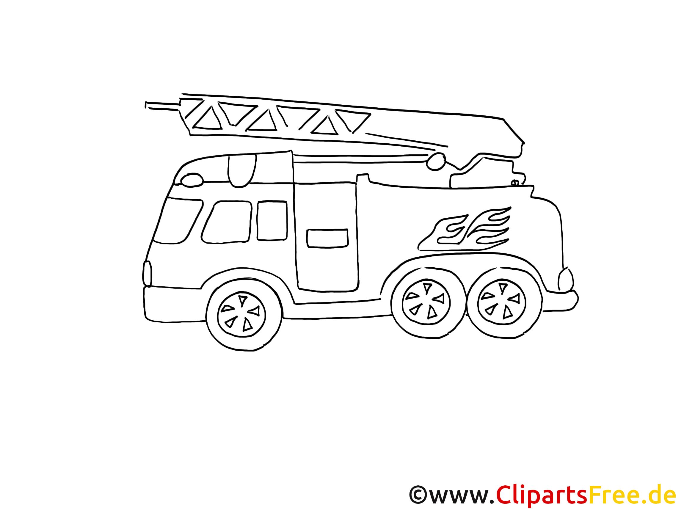 feuerwehrwagen zeichnung grafik schwarz weiss clipart bild. Black Bedroom Furniture Sets. Home Design Ideas