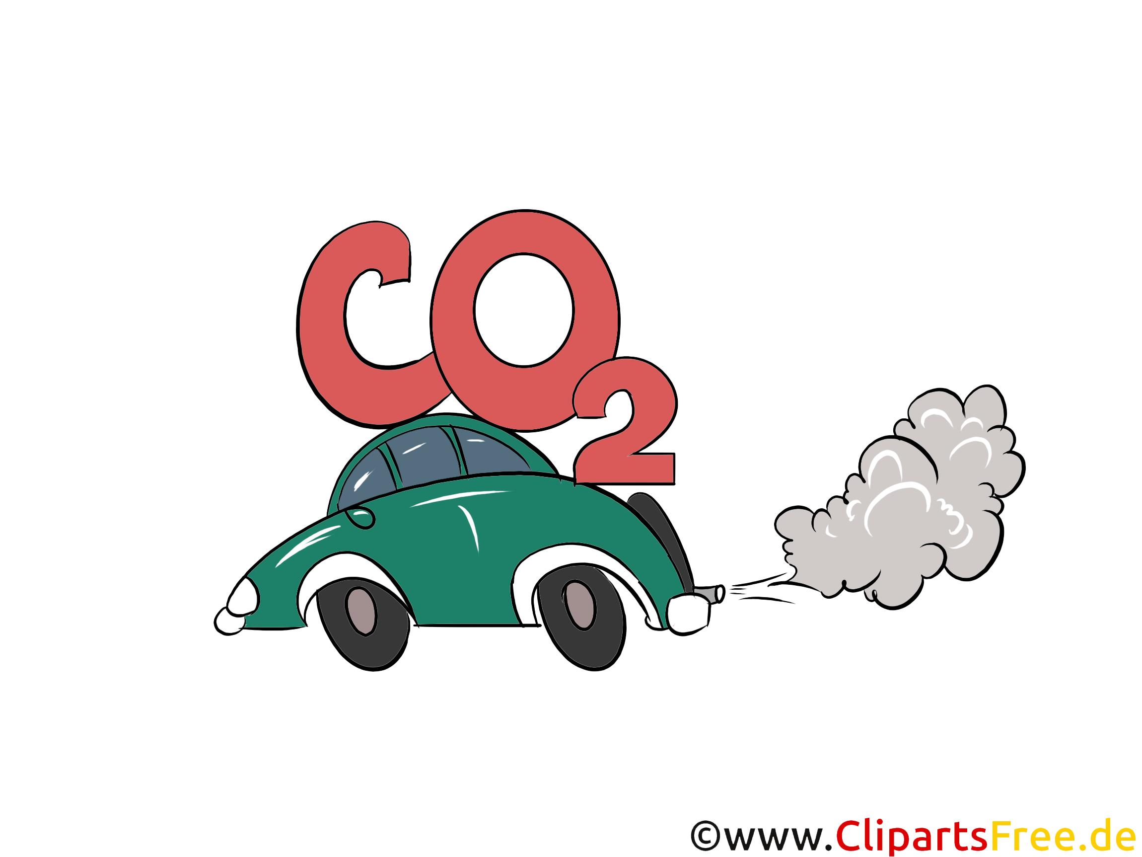 CO2 Ausstoß bei Autos Illustration, Bild, Grafik