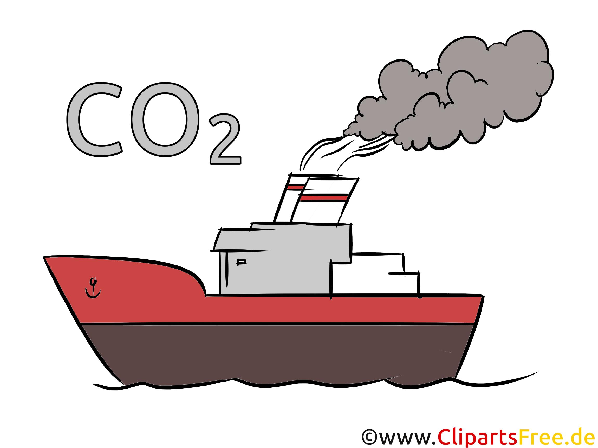 Co2 Ausstoß bei Schiffen Stock Illustration, Clipart, Bild