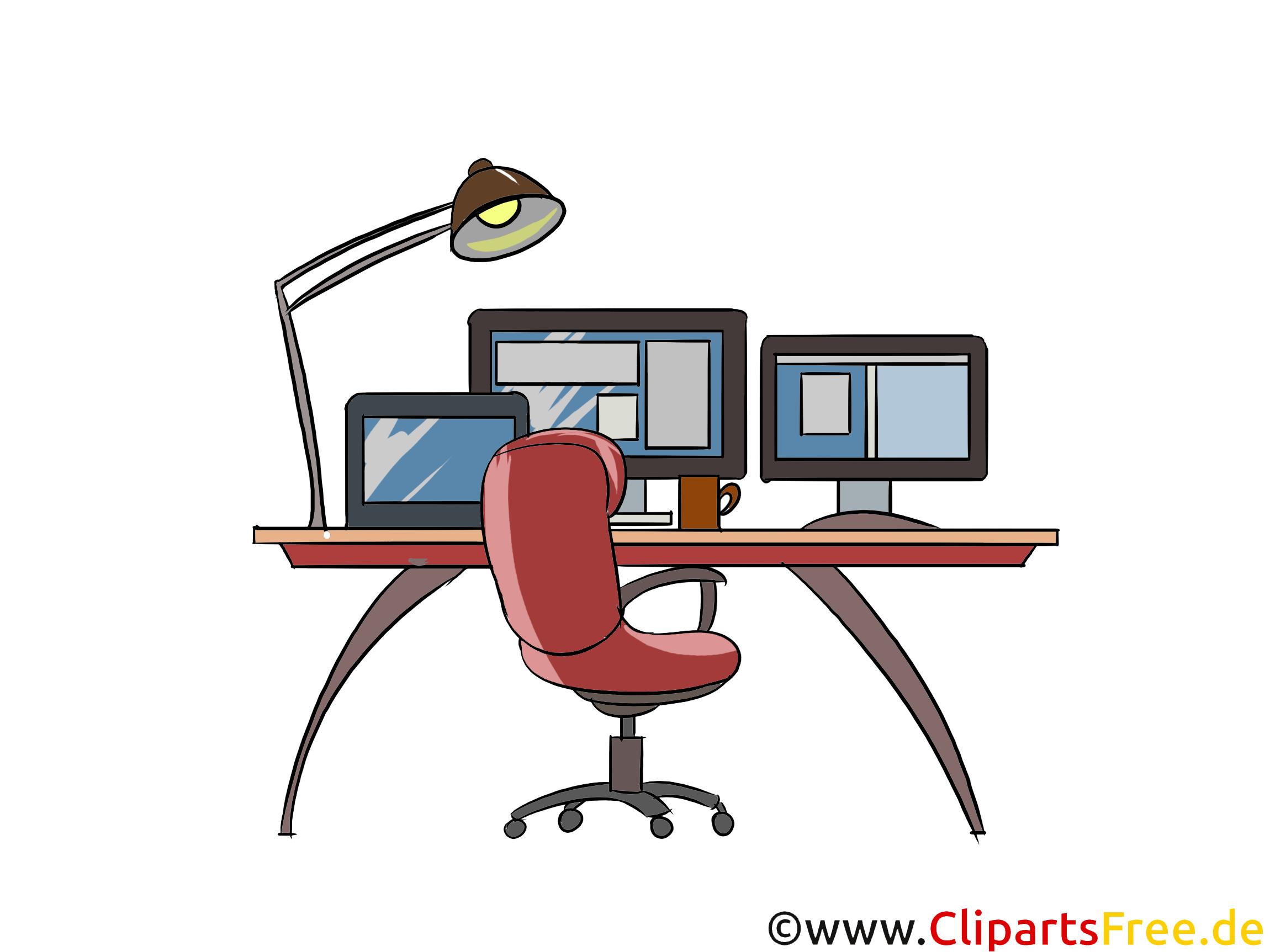 Arbeitsplatz mit vielen Bildschirmen Clipart, Bild, Illustration