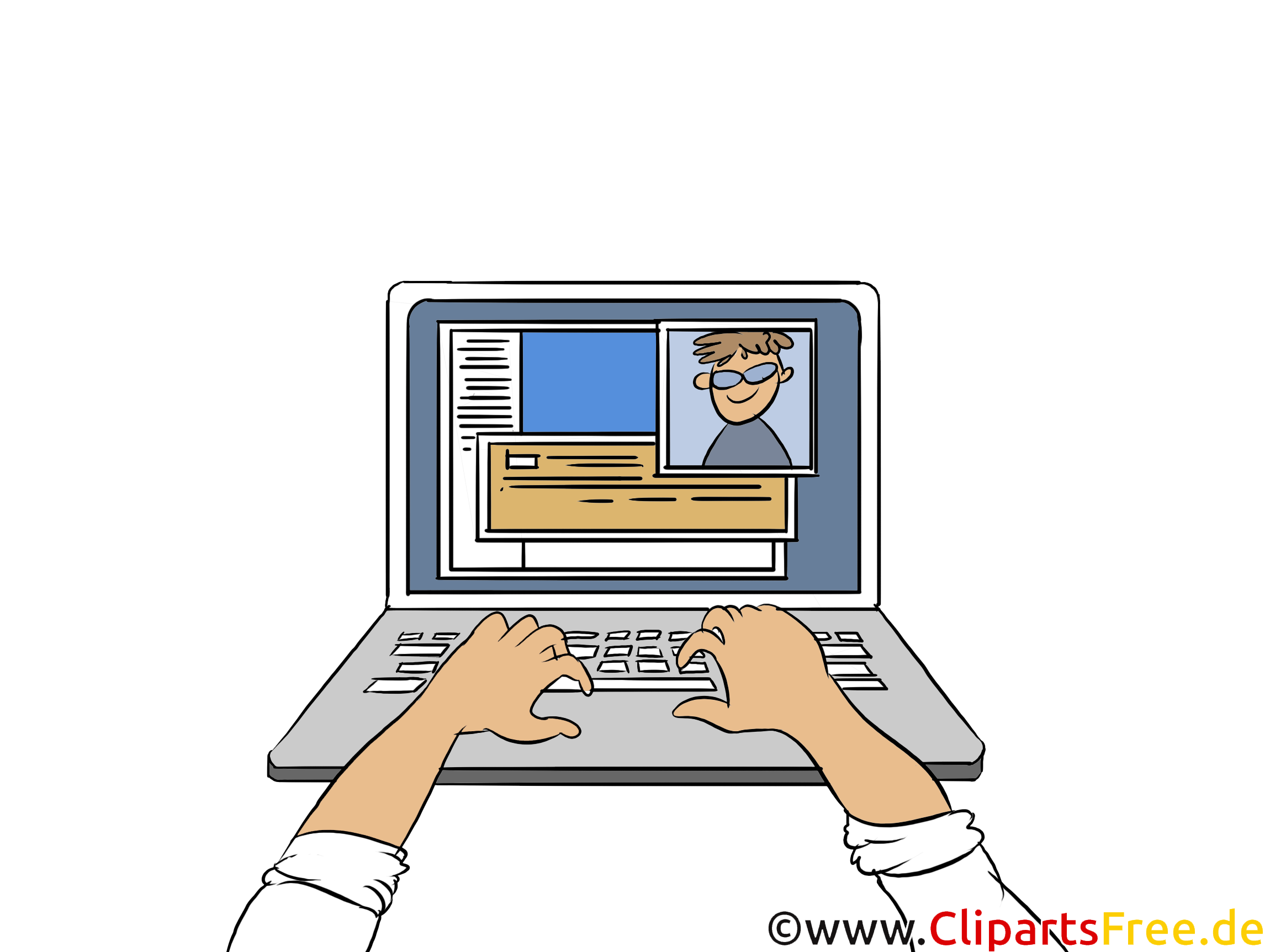 Hände tippen Text an Tastatur Clipart, Bild, Illustration