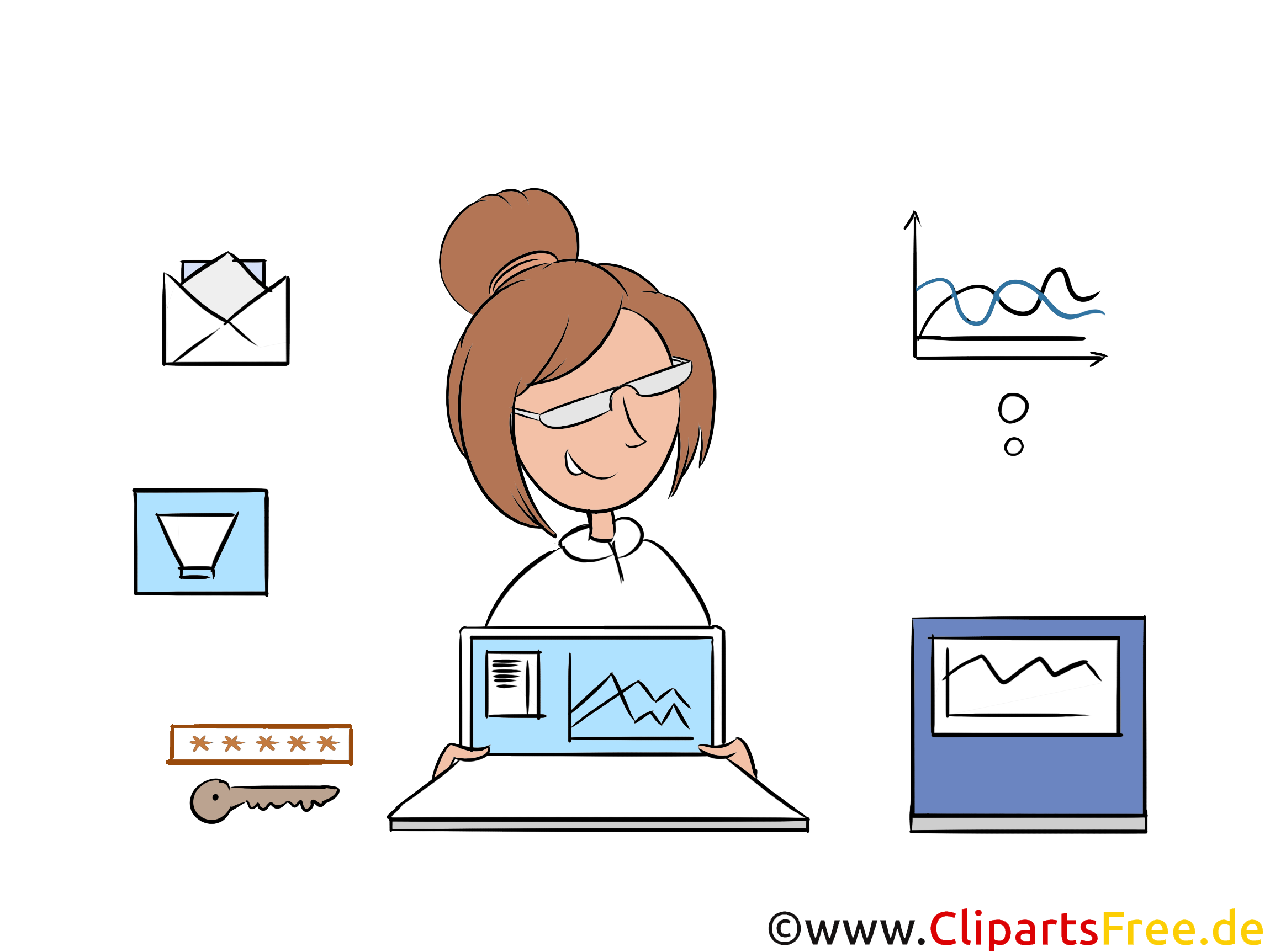 Homeoffice Clipart, Bild, Illustration