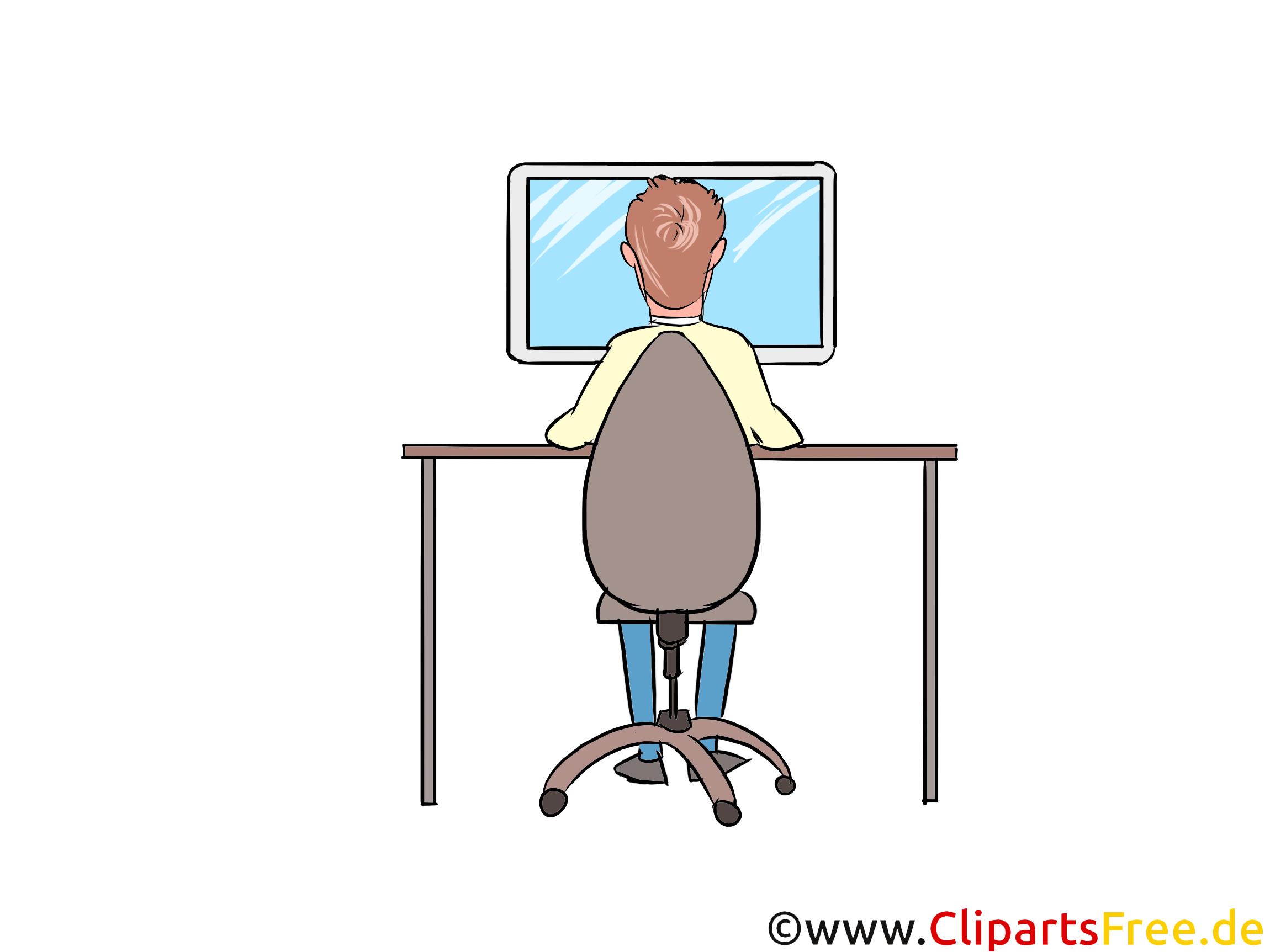Mann arbeitet am PC, Computer Clipart, Bild, Illustration