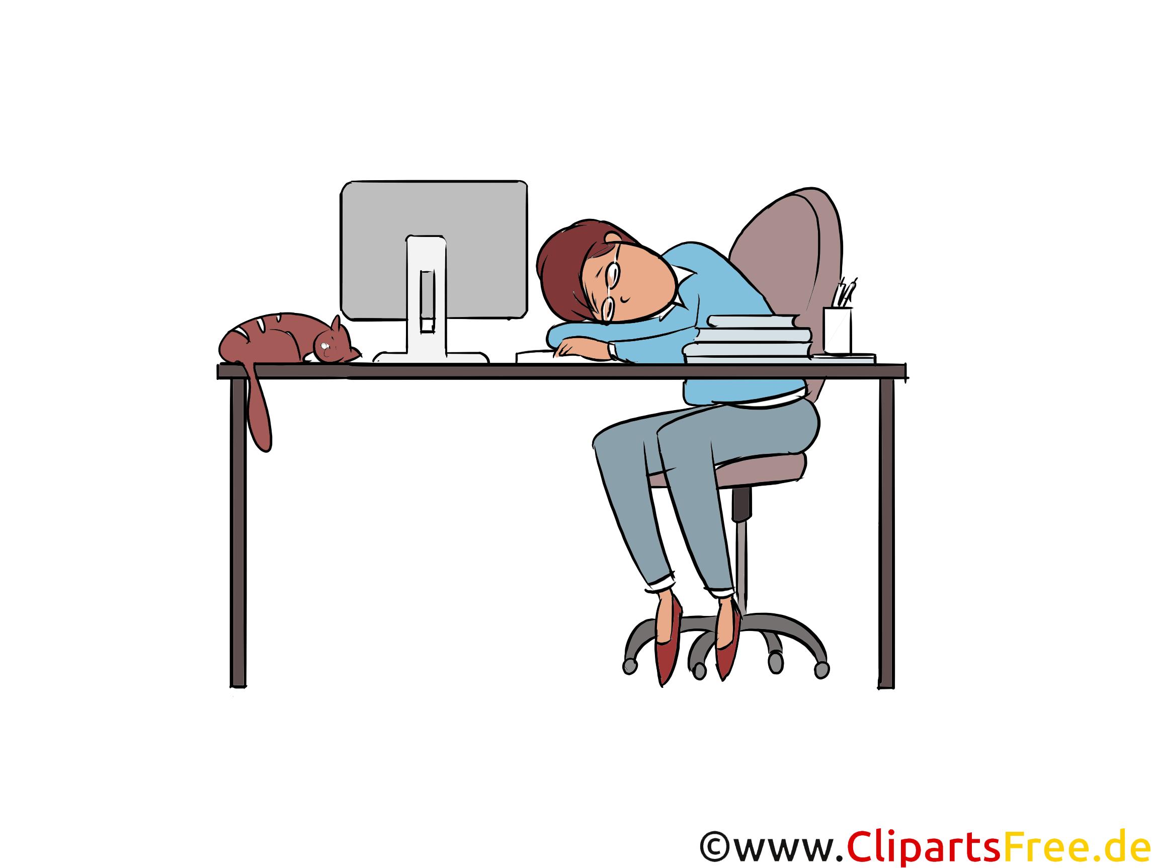 Müde vor Arbeit Clipart, Bild, Illustration