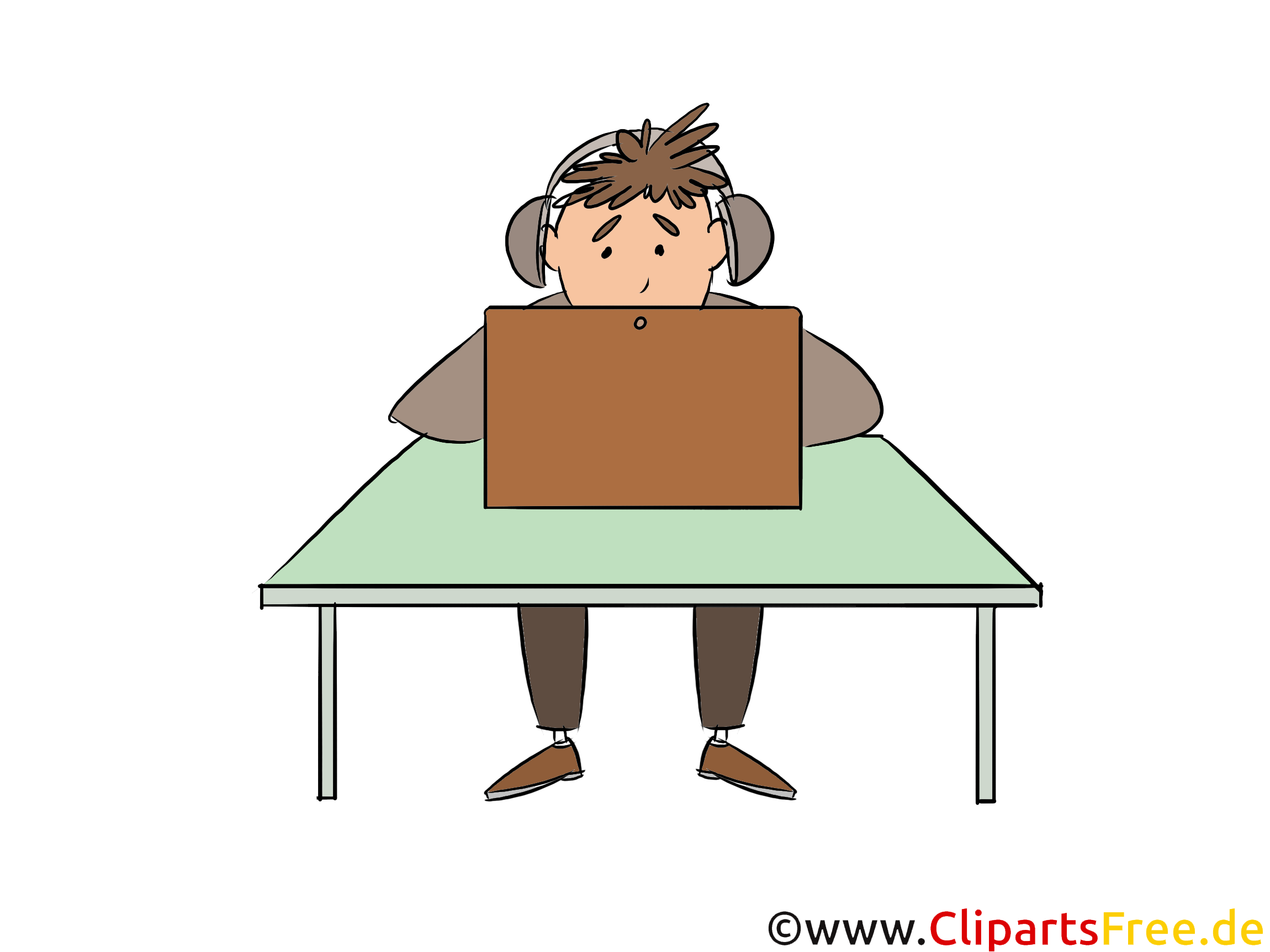 Student chattet im Internet Clipart, Bild, Illustration