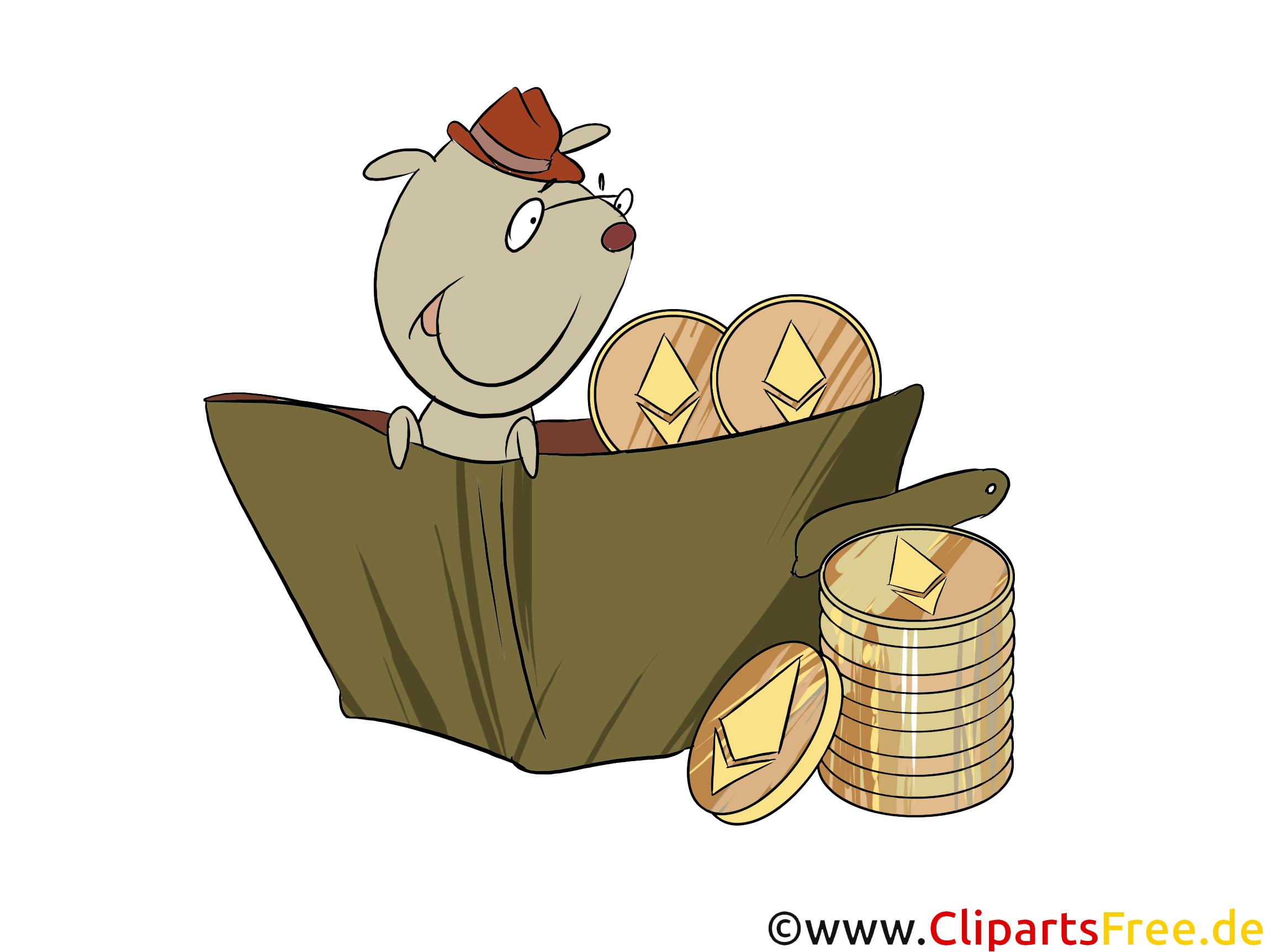 Hund in der Tüte mit Coins Clipart