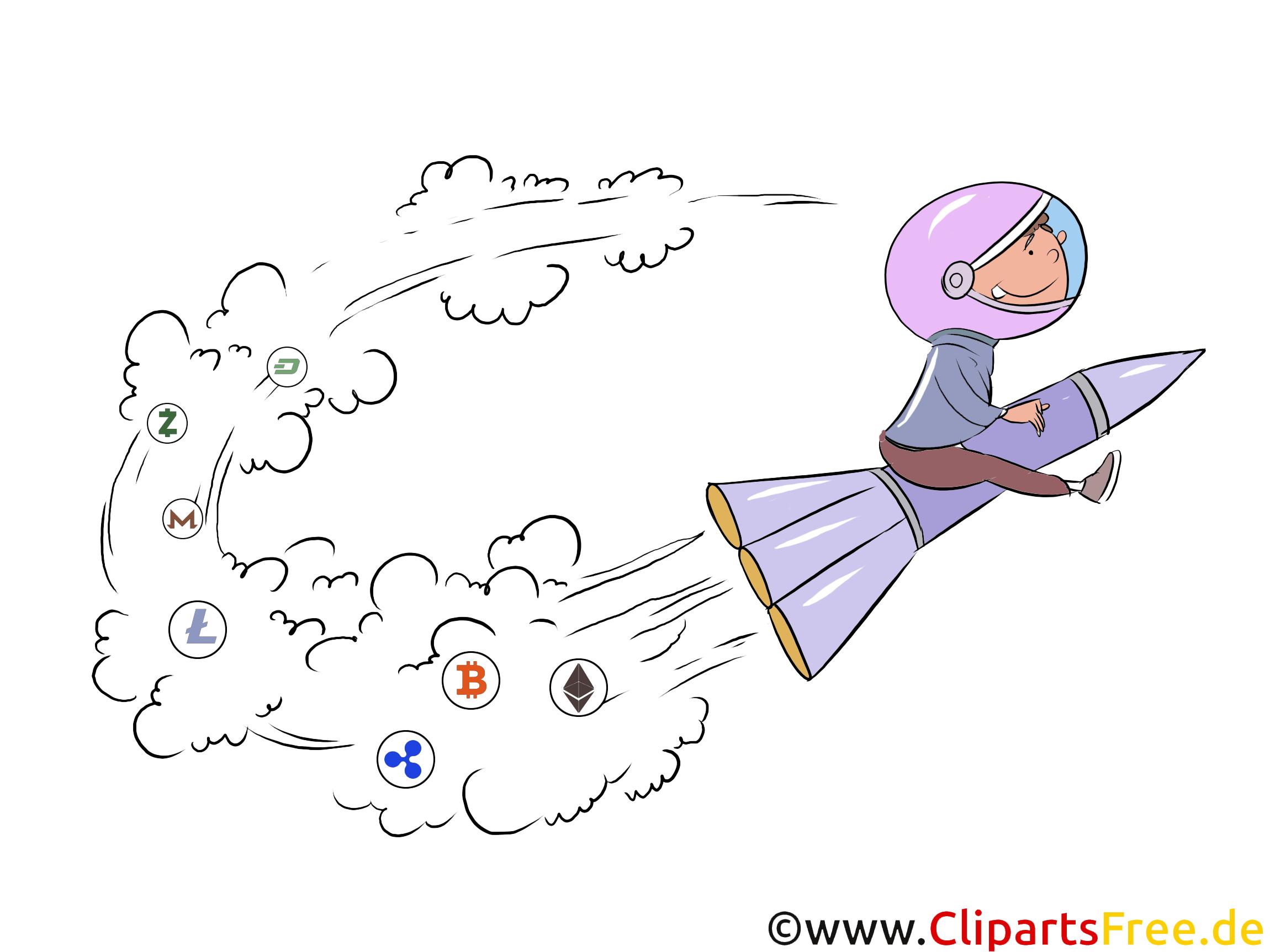 Krypto ist eine Rakete Clipart, Illustration