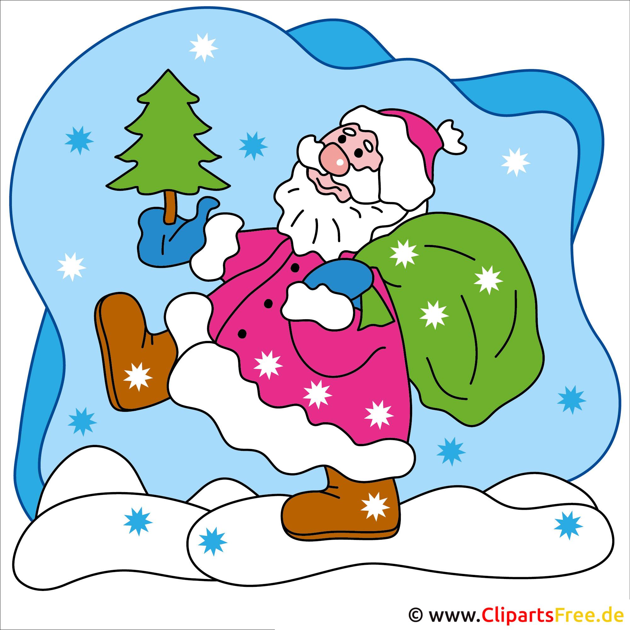 Clip Art zu Weihnachten Weihnachtsmann mit Tannenbaum