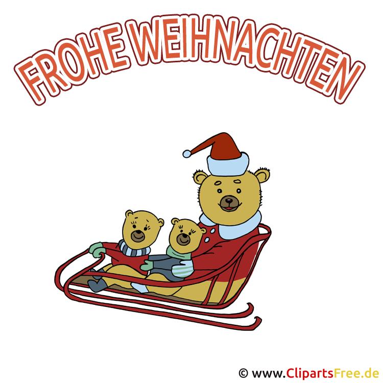 Freie Weihnachtsbilder Bären auf Schlitten